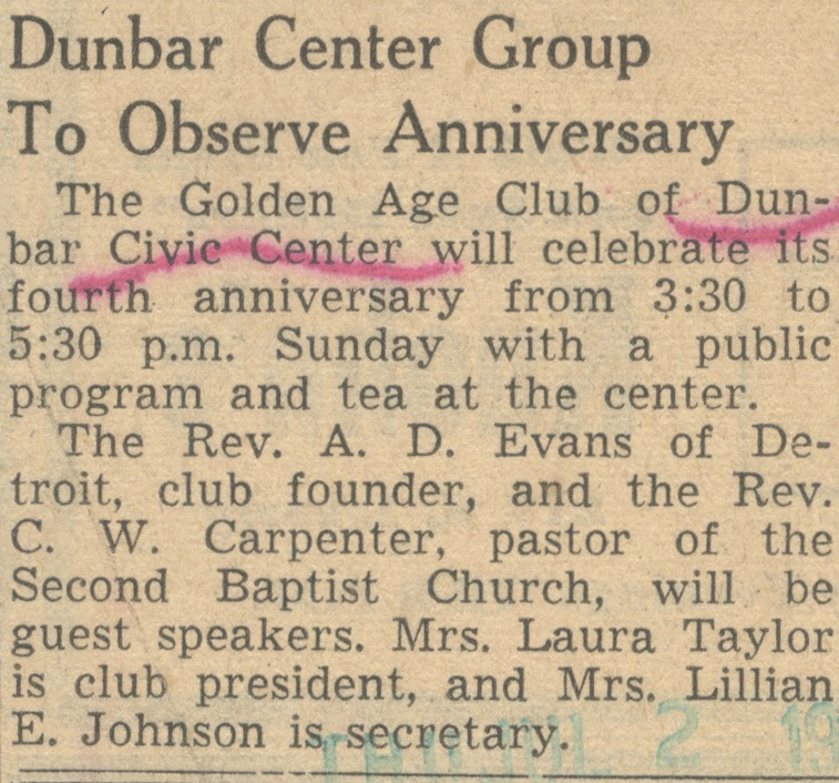 Dunbar Center Group To Observe Anniversary image