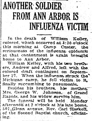 Another Soldier From Ann Arbor Is Influenza Victim image