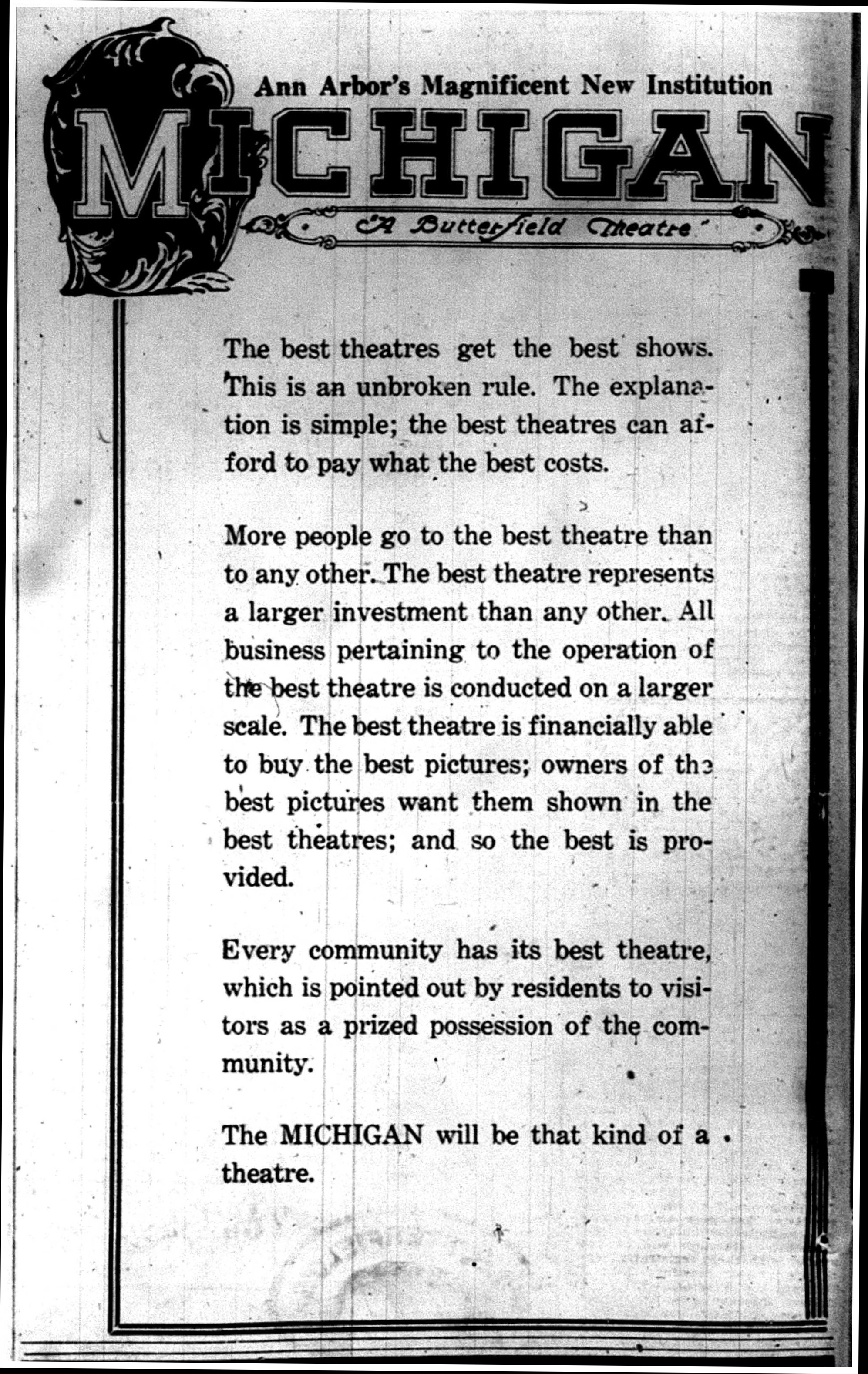 Michigan: A Butterfield Theatre [advertisement] image