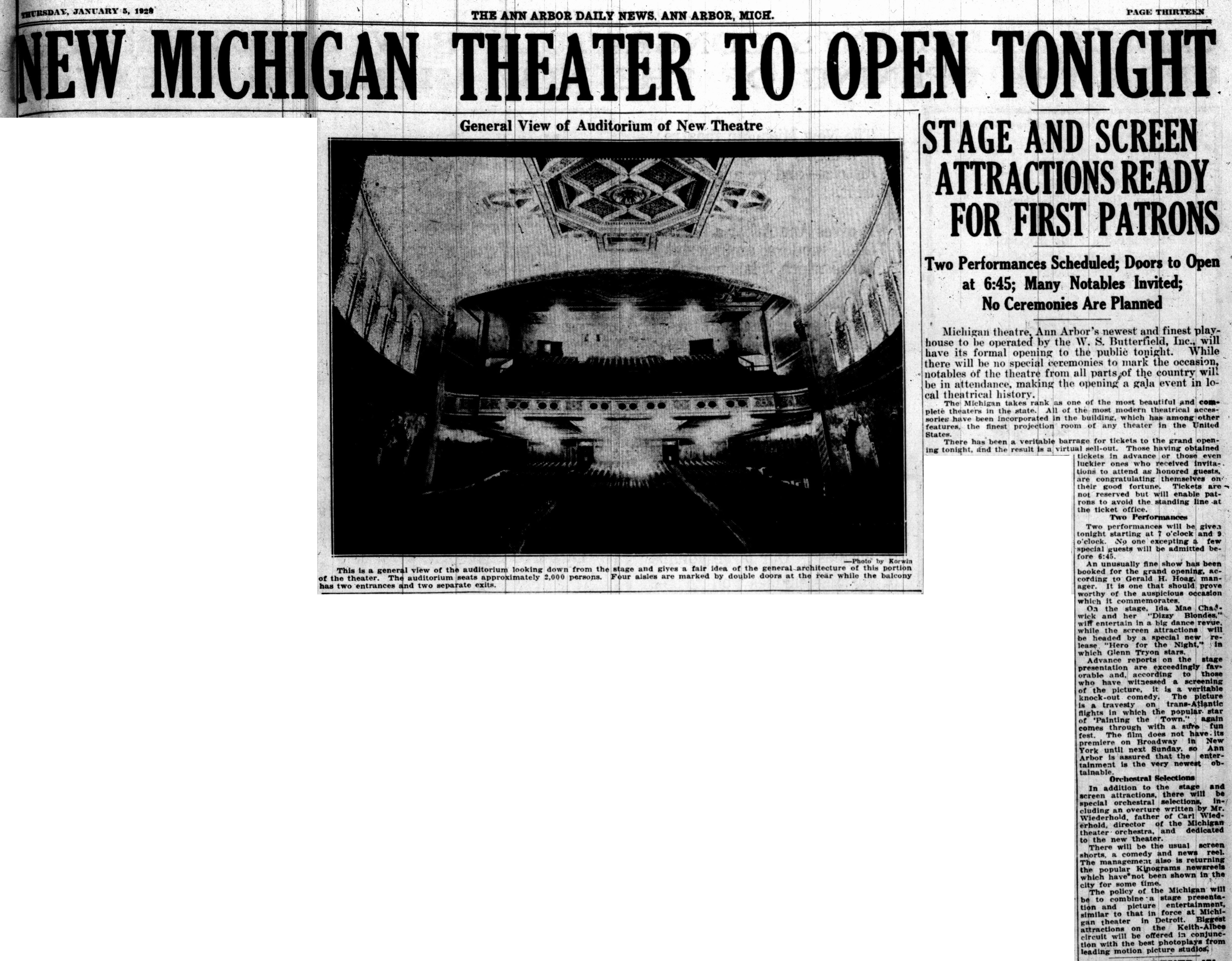 New Michigan Theater To Open Tonight image