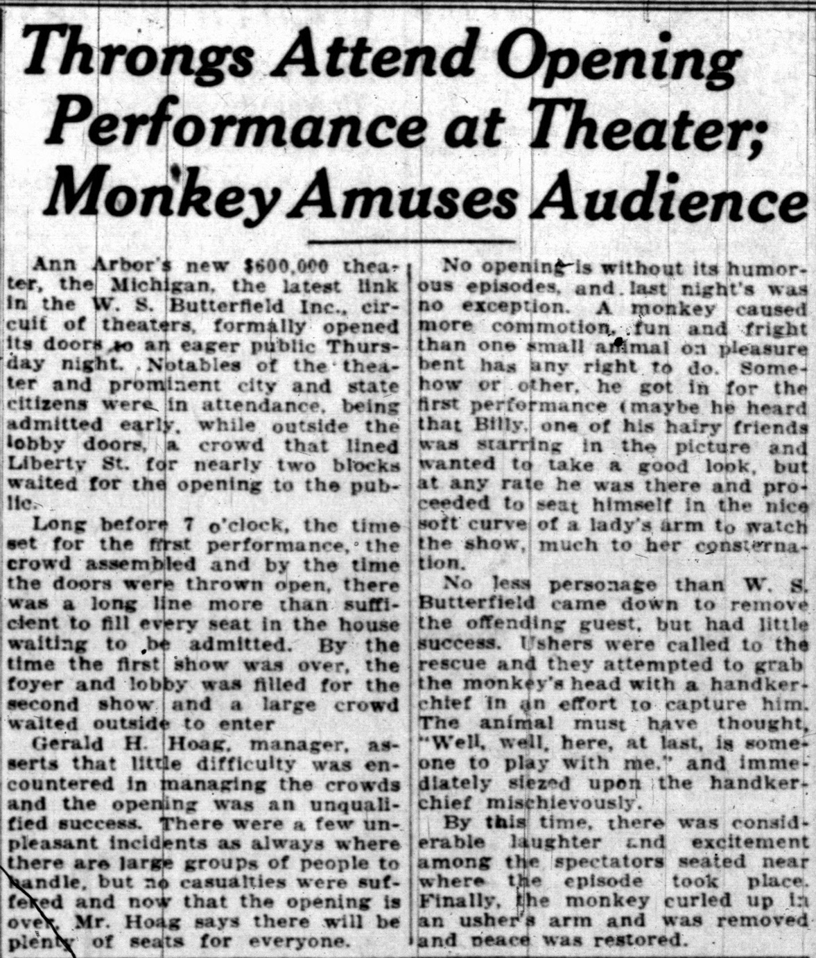 Throngs Attend Opening Performance at Theater; Monkey Amuses Audience image