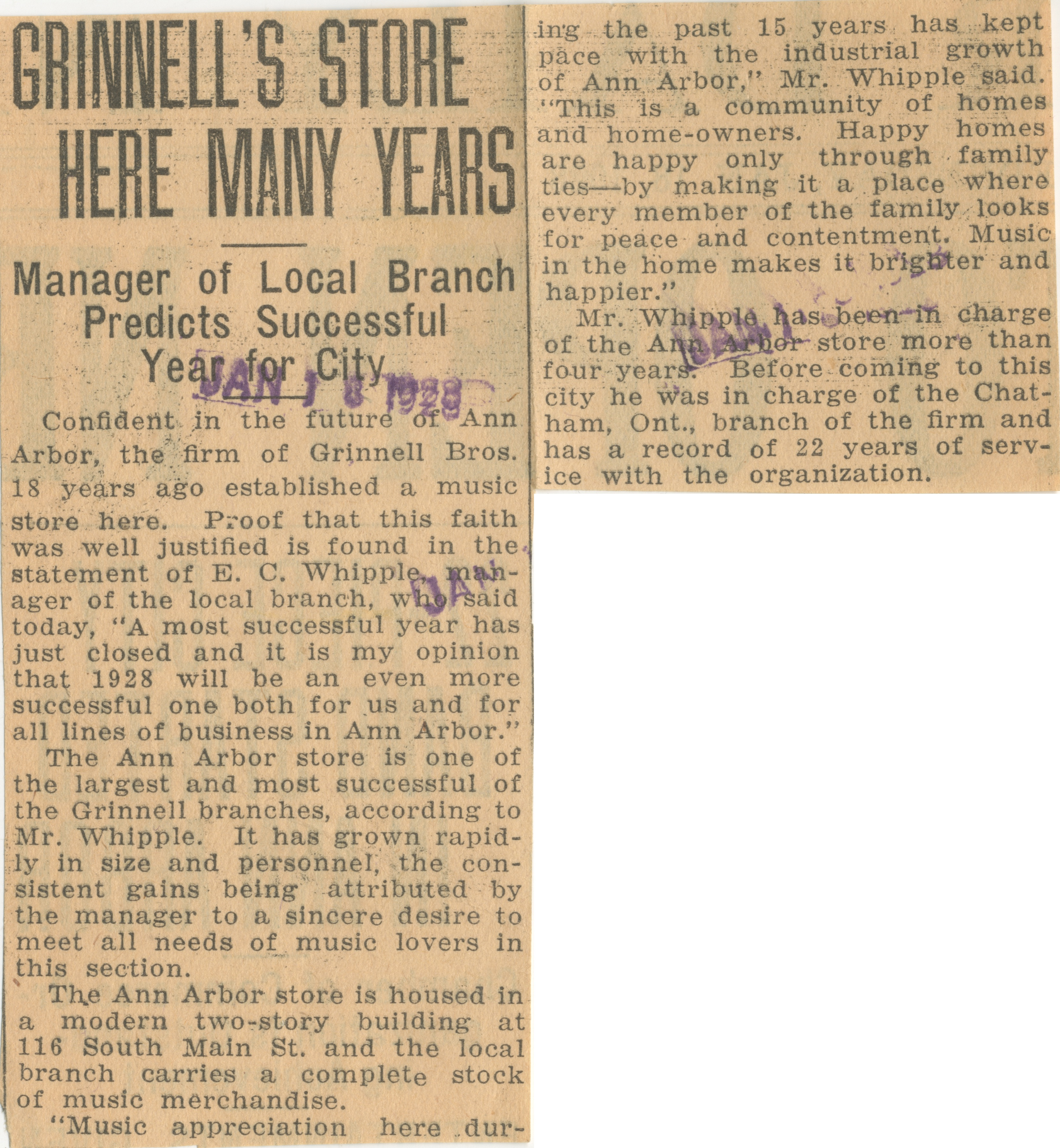 Grinnell's Store Here Many Years image