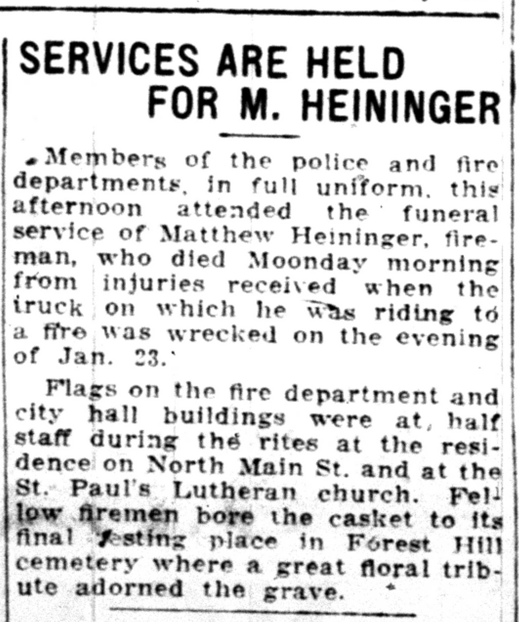 Services Are Held For M. Heininger image