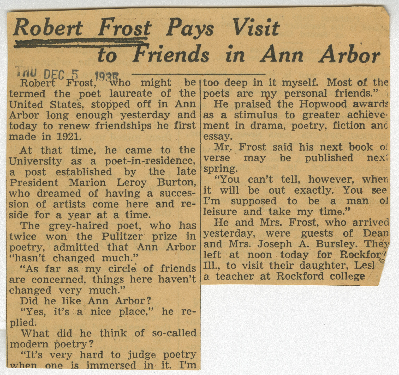 Robert Frost Pays Visit to Friends in Ann Arbor image