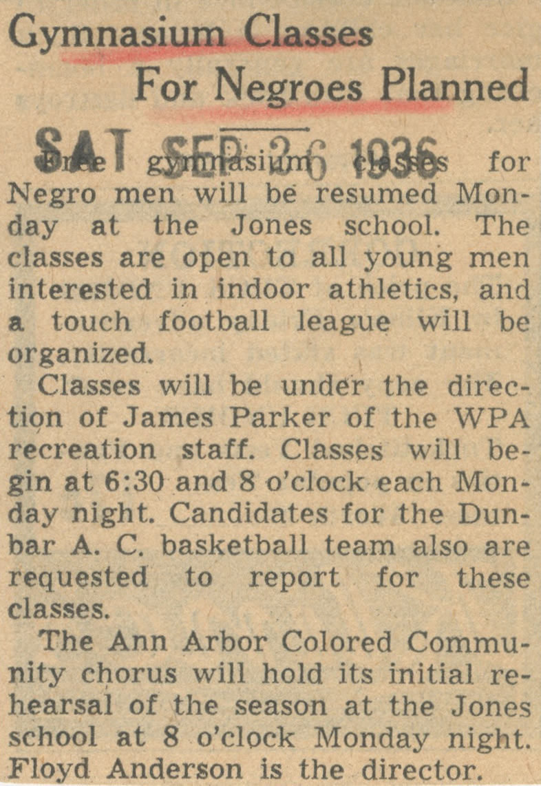 Gymnasium Classes For Negroes Planned image