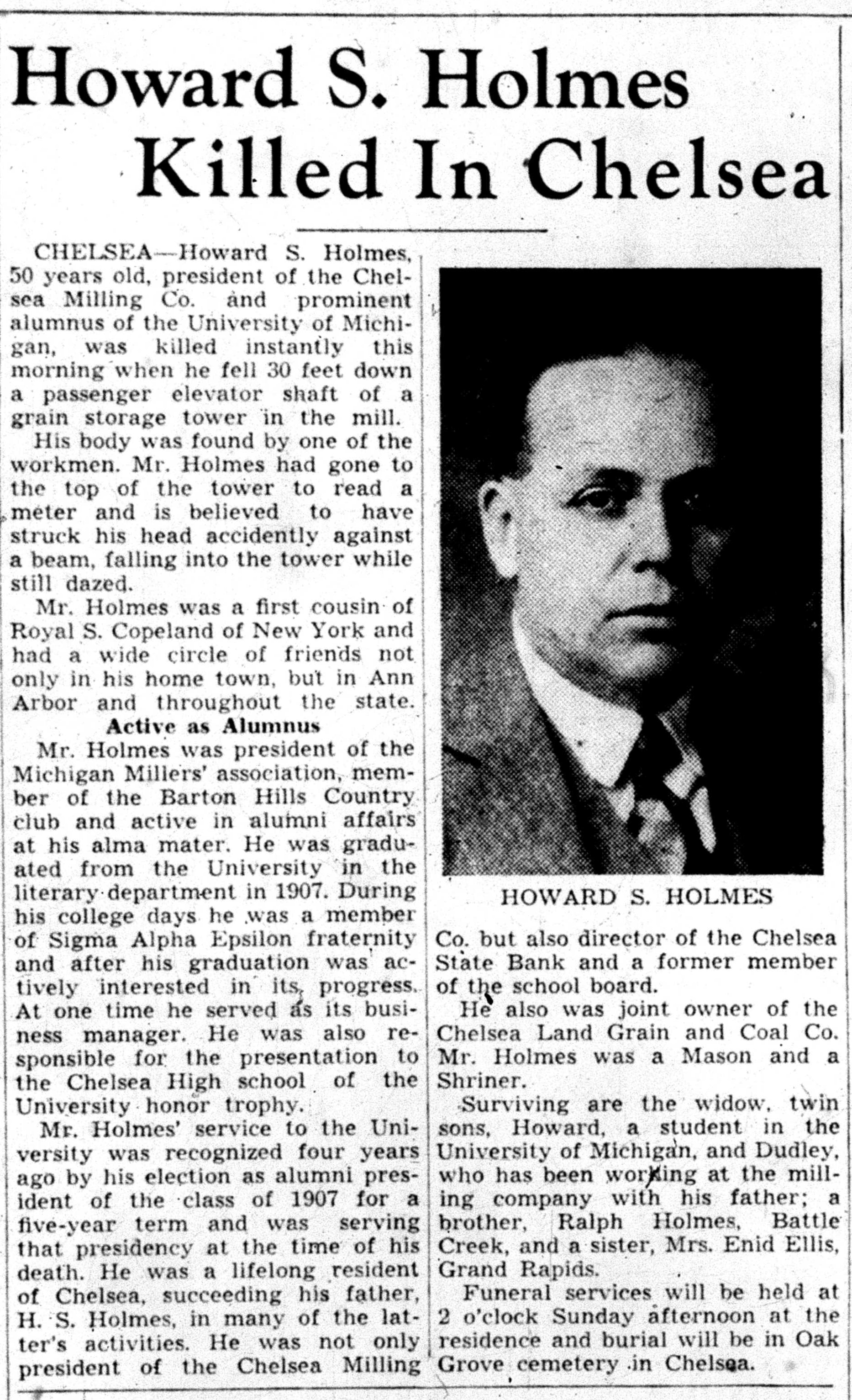 Howard S. Holmes Killed In Chelsea image