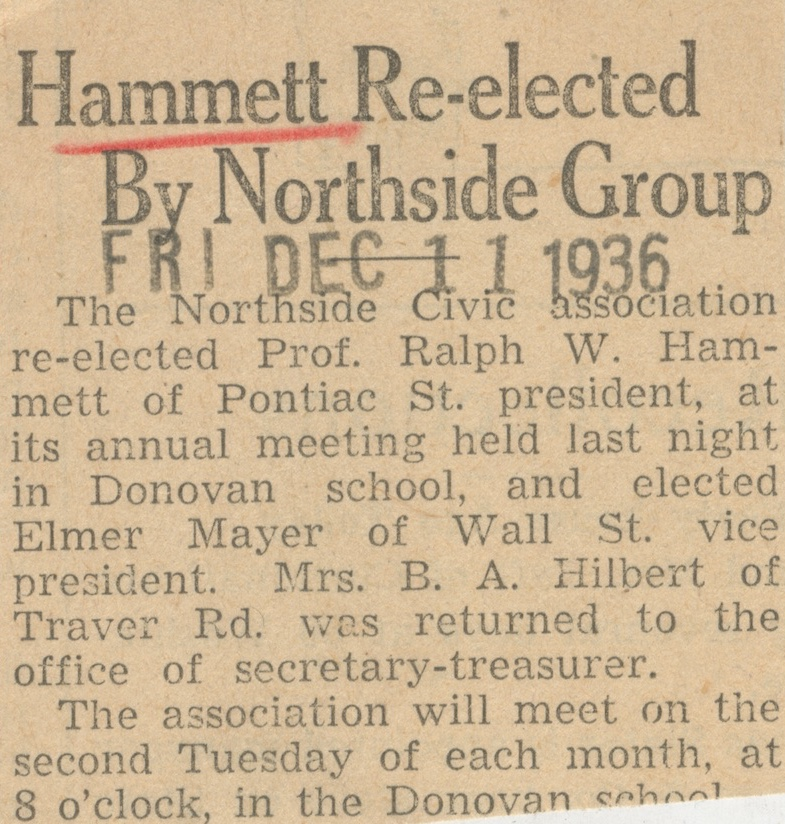 Hammett Re-elected By Northside Group image