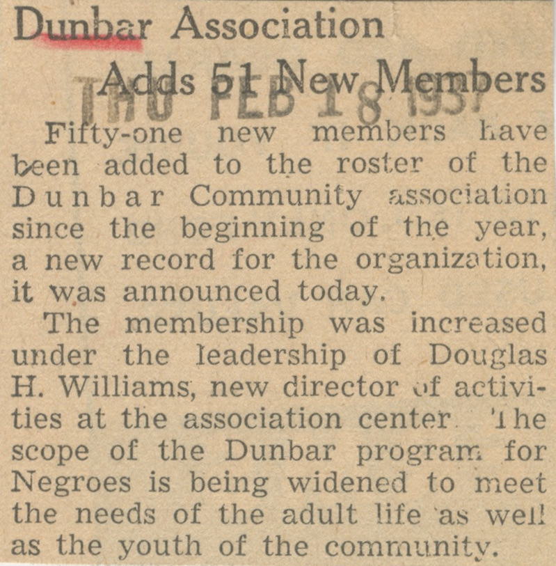 Dunbar Association Adds 51 New Members image