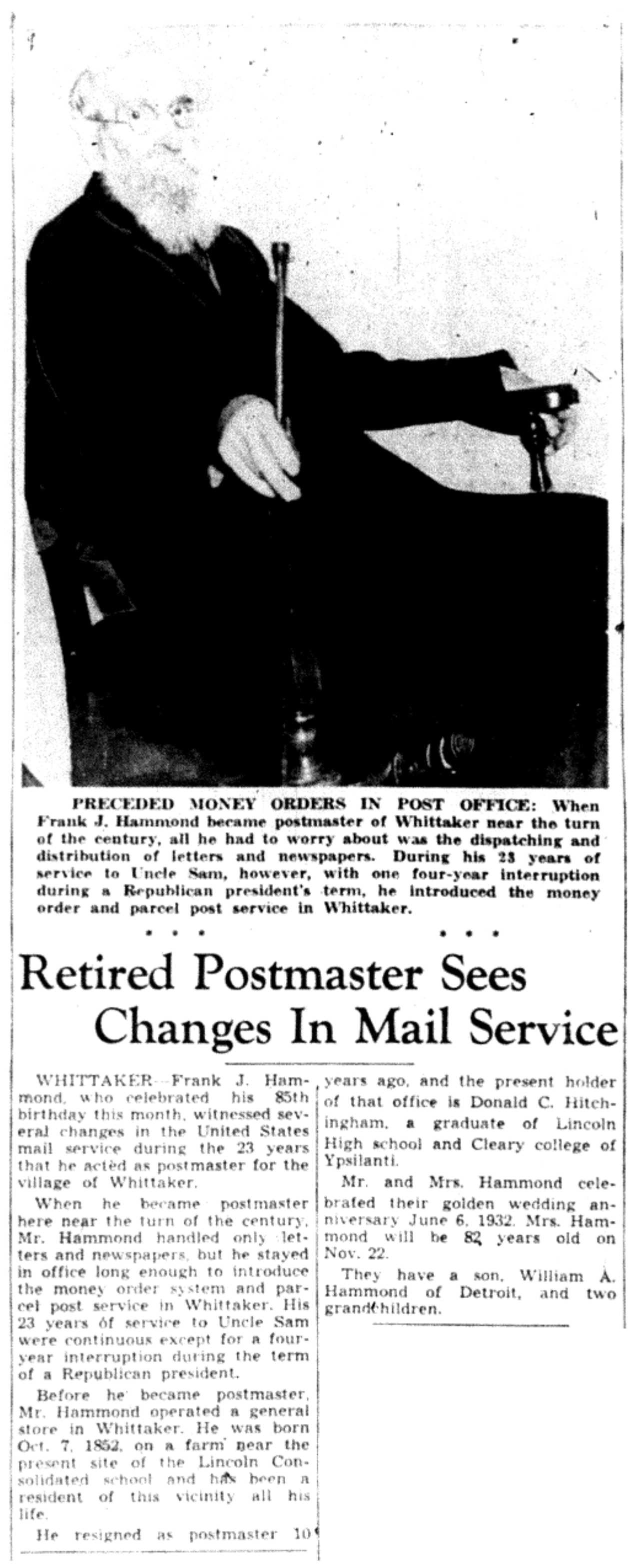 Retired Postmaster Sees Changes In Mail Service image