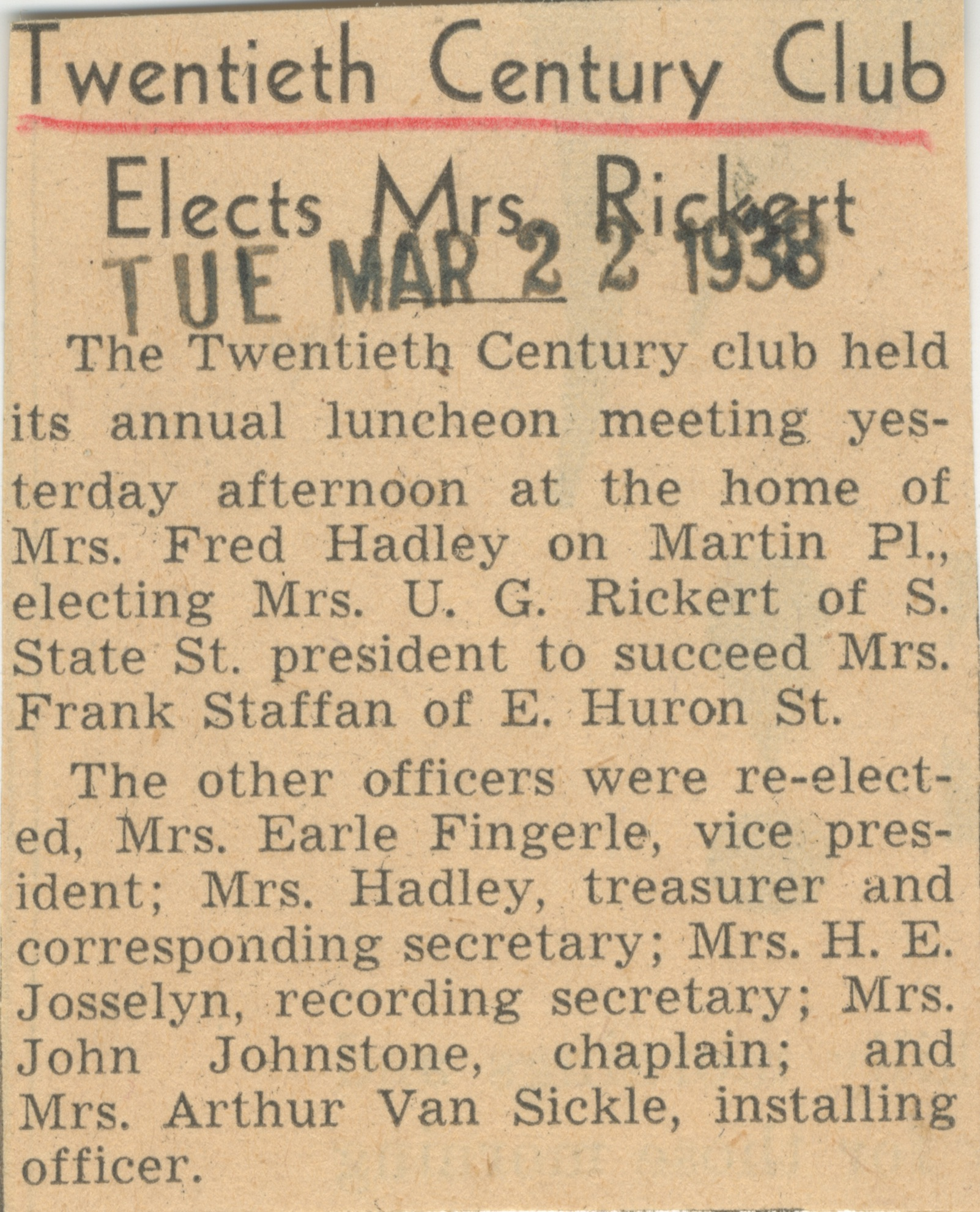 Twentieth Century Club Elects Mrs. Rickert image
