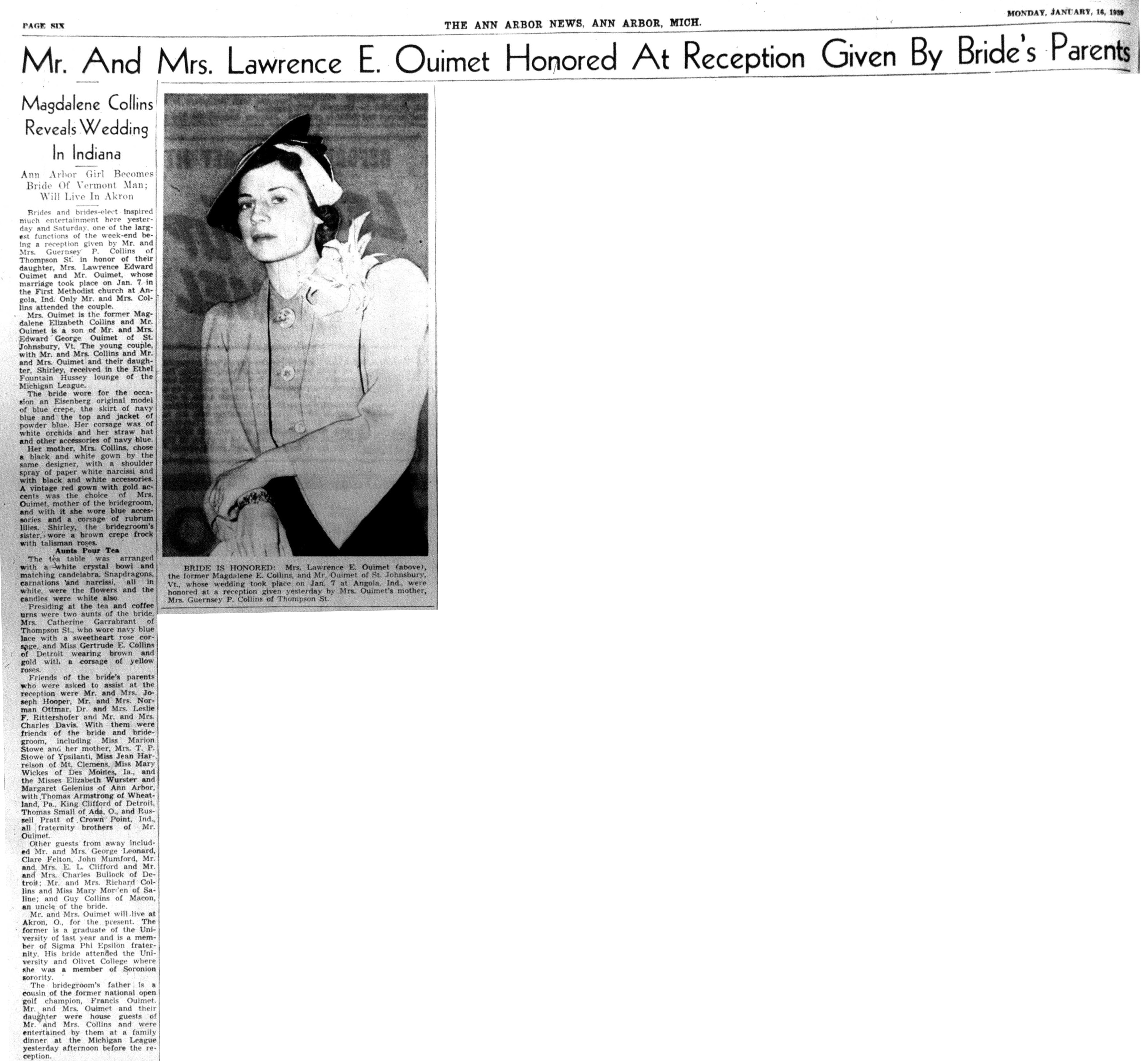 Mr. and Mrs. Lawrence E. Ouimet Honored At Reception Given By Bride's Parents image
