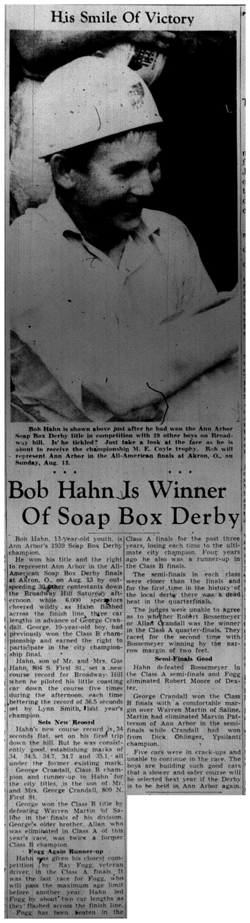 Bob Hahn Is Winner Of Soap Box Derby image