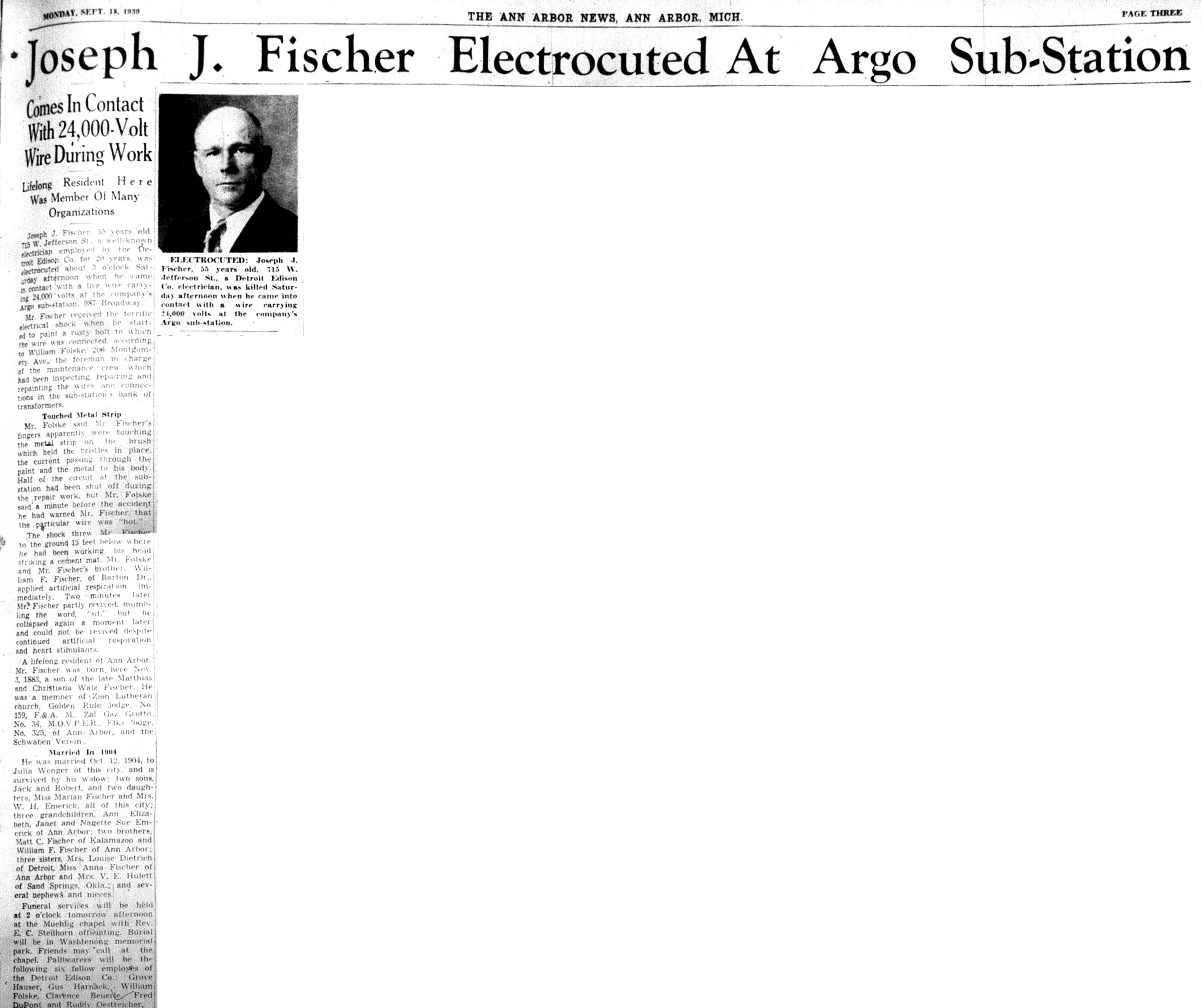 Joseph J. Fischer Electrocuted At Argo Sub-Station image