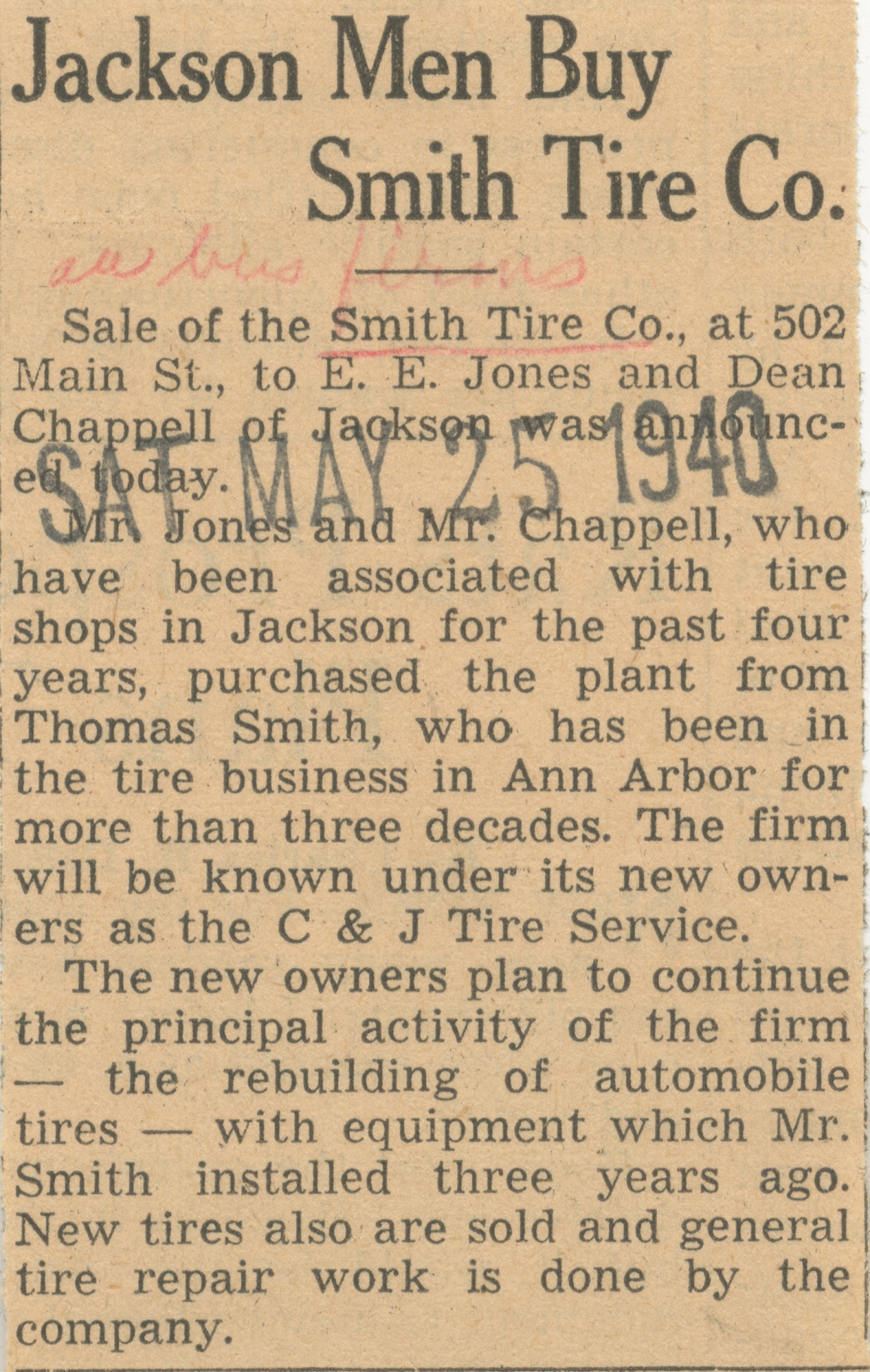 Jackson Men Buy Smith Tire Co. image