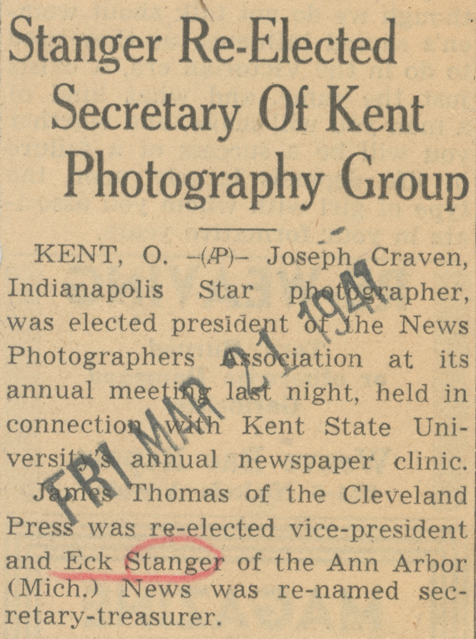 Stanger Re-Elected Secretary Of Kent Photography Group image