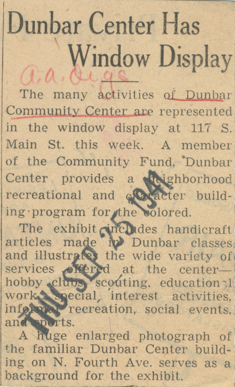 Dunbar Center Has Window Display image