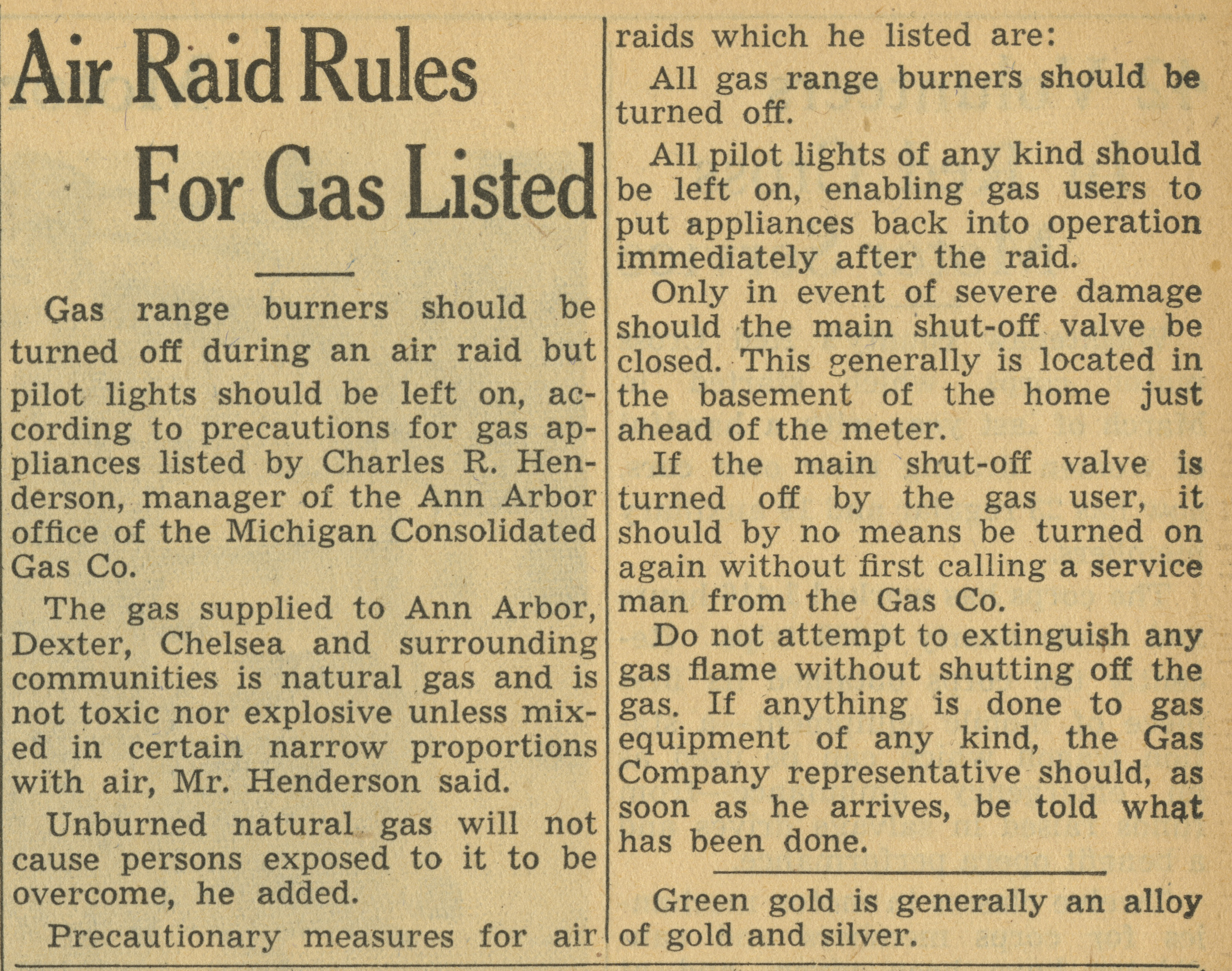 Air Raid Rules For Gas Listed image