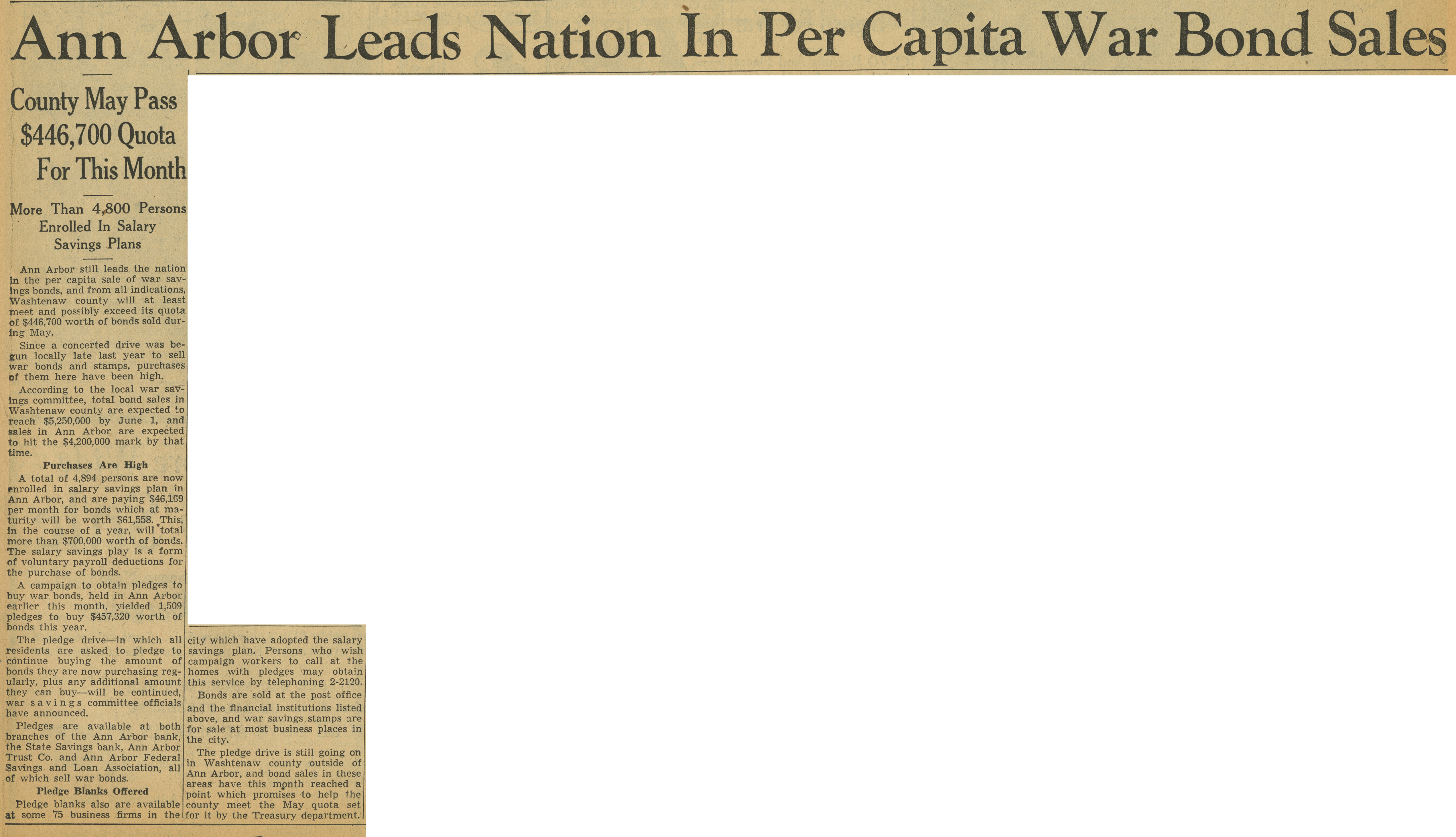 Ann Arbor Leads Nation In Per Capita War Bond Sales image