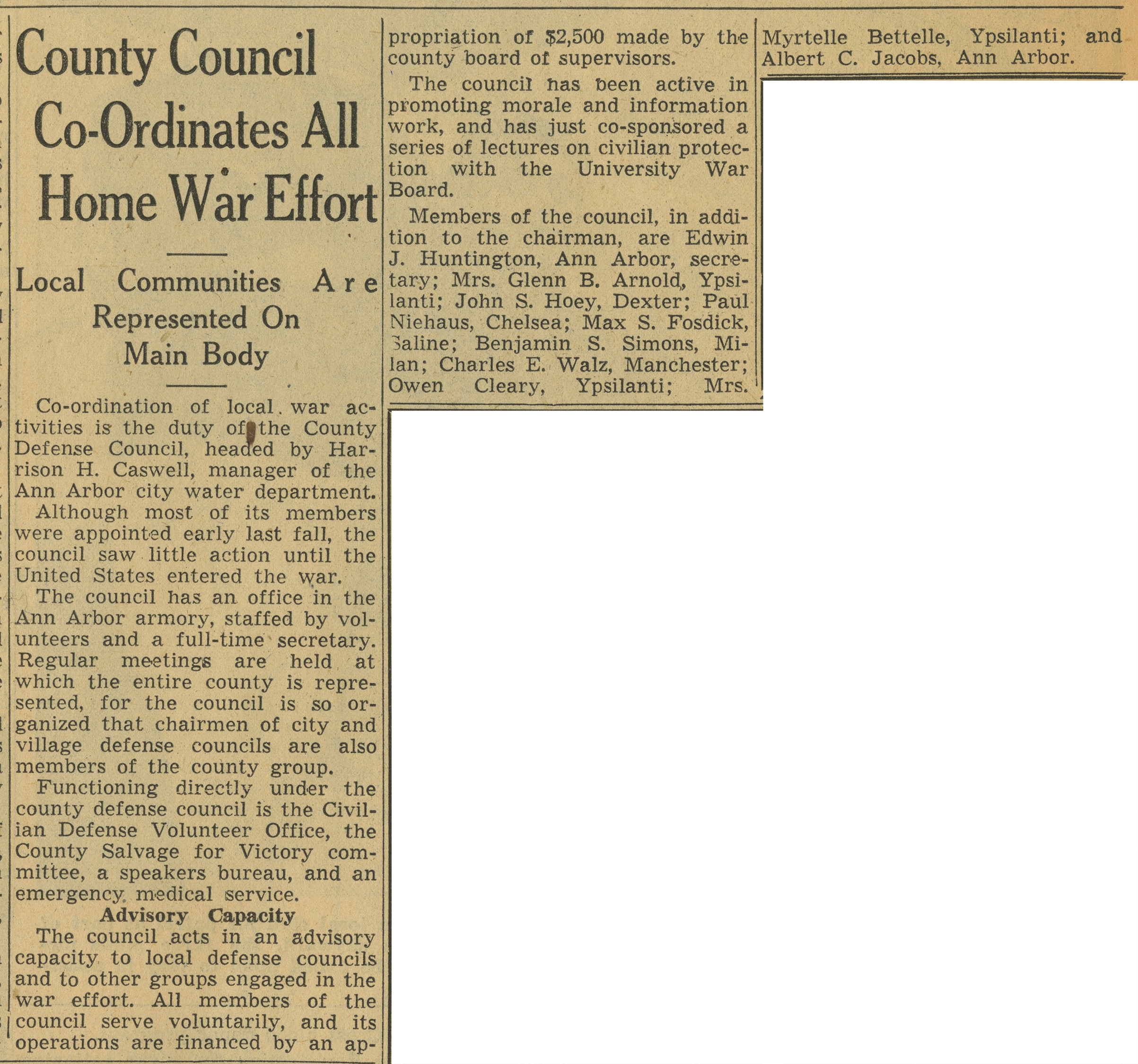 County Council Co-Ordinates All Home War Effort image