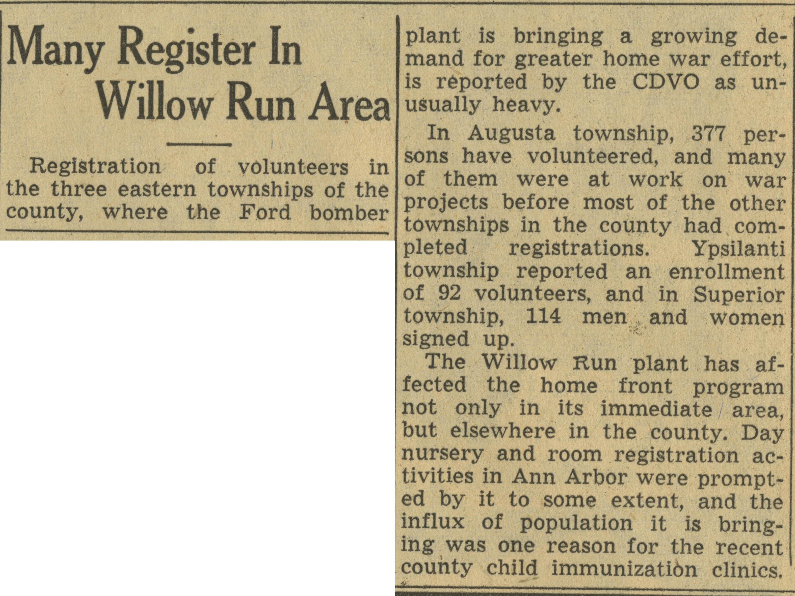 Many Register In Willow Run Area image