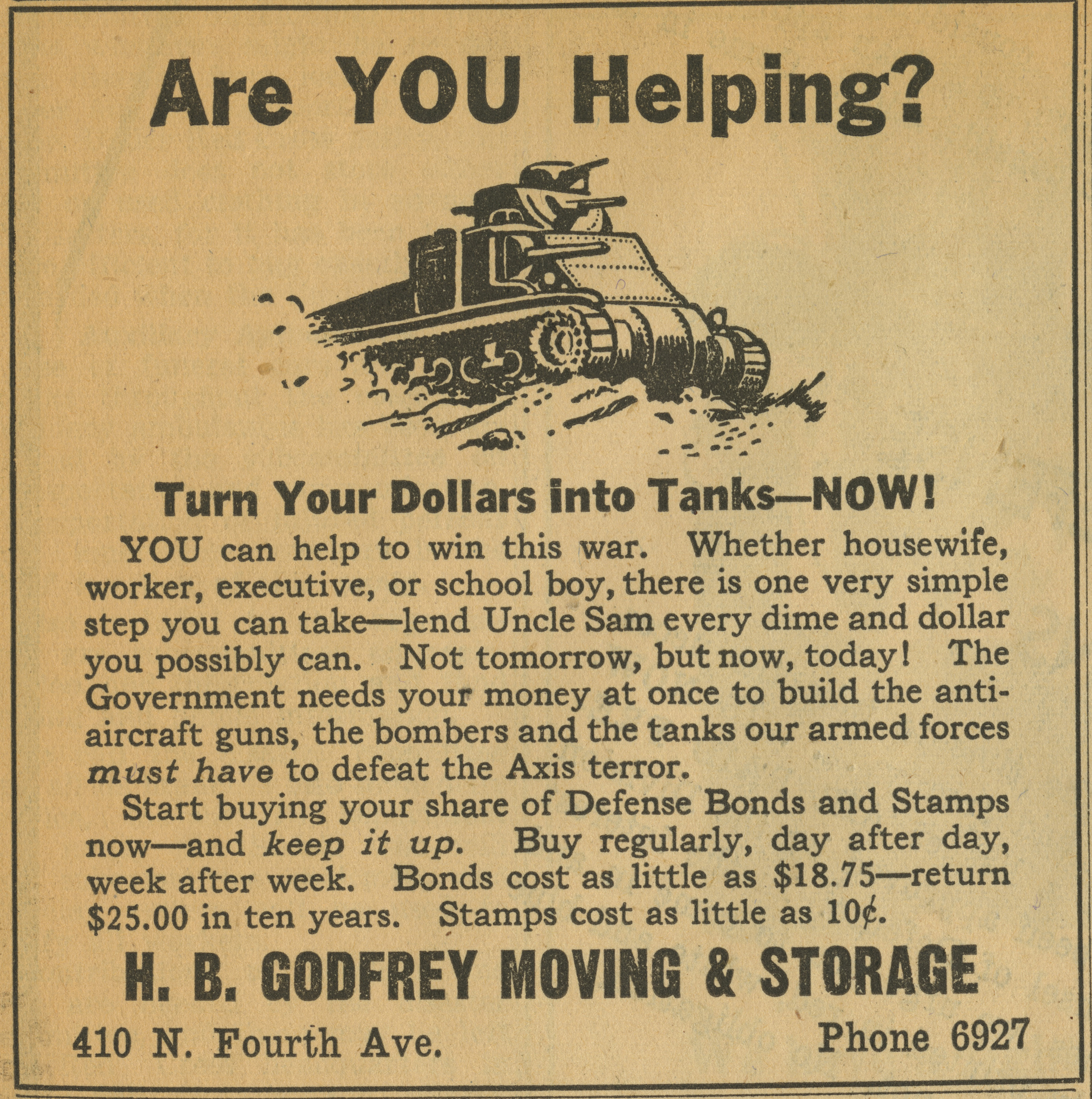 H. B. Godfrey Moving & Storage [advertisement] image