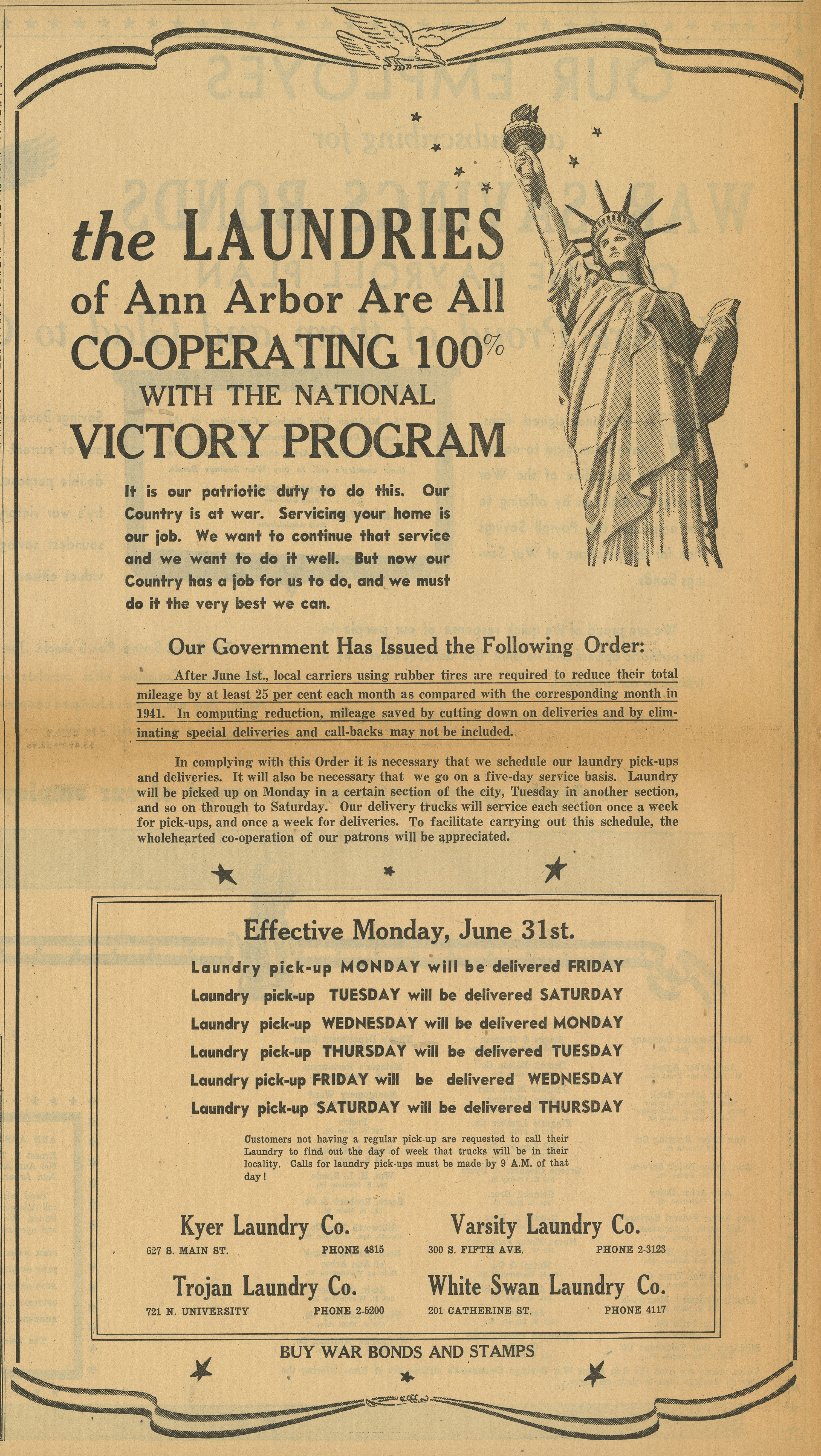The Laundries of Ann Arbor Are All Co-operating 100% with the National Victory Program - Advertisement image