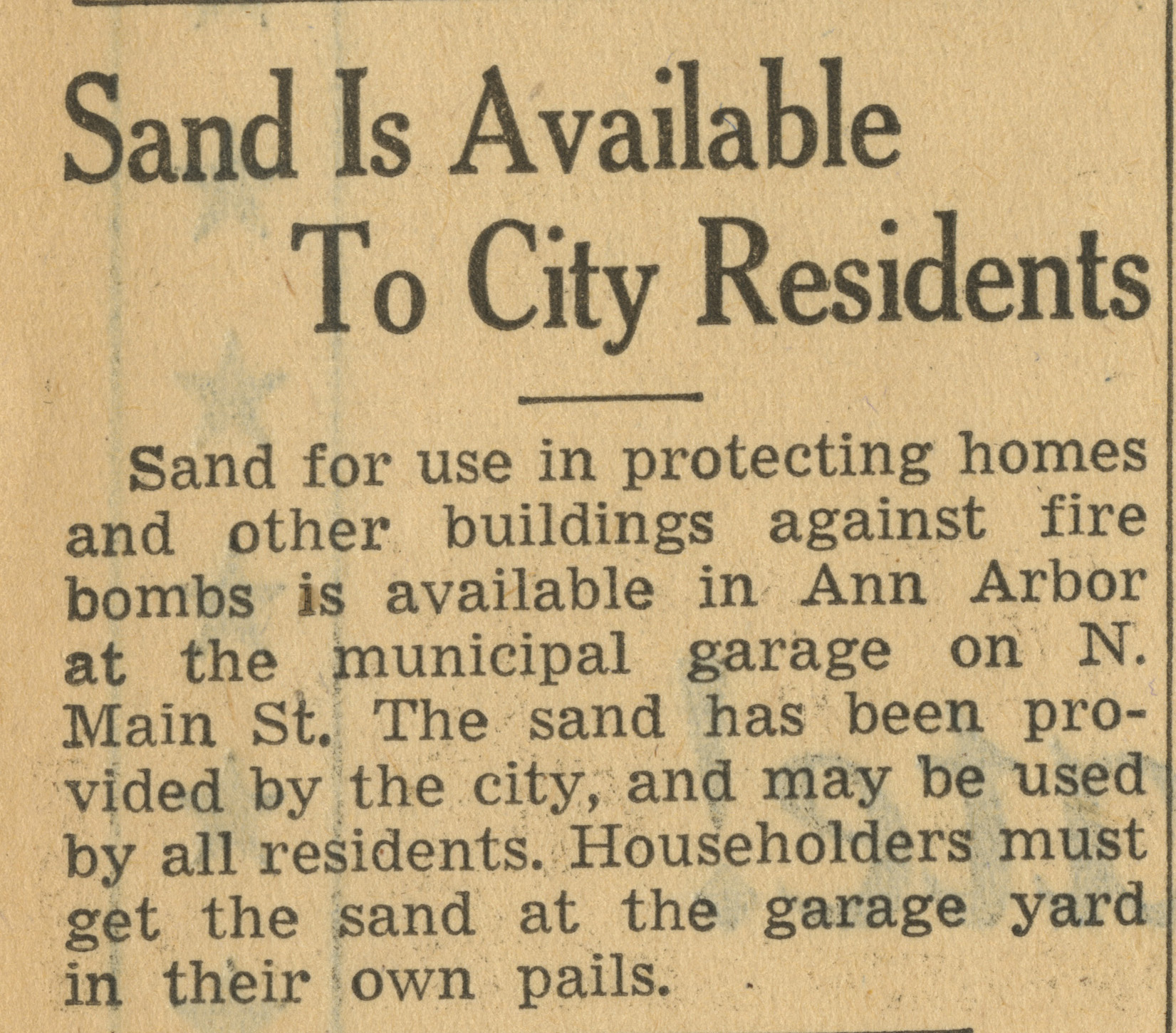 Sand Is Available To City Residents image