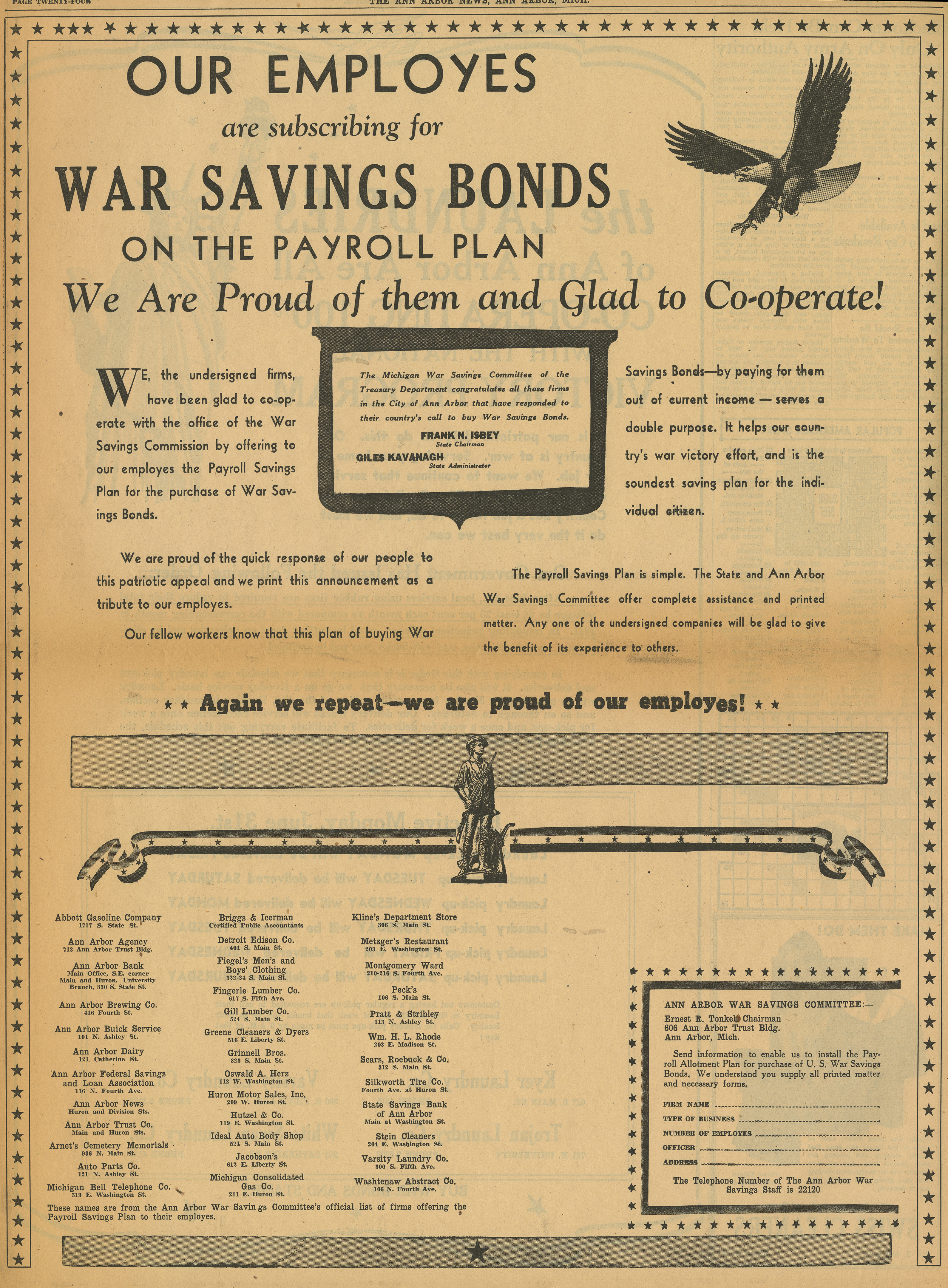 Ann Arbor War Savings Committee [advertisement] image
