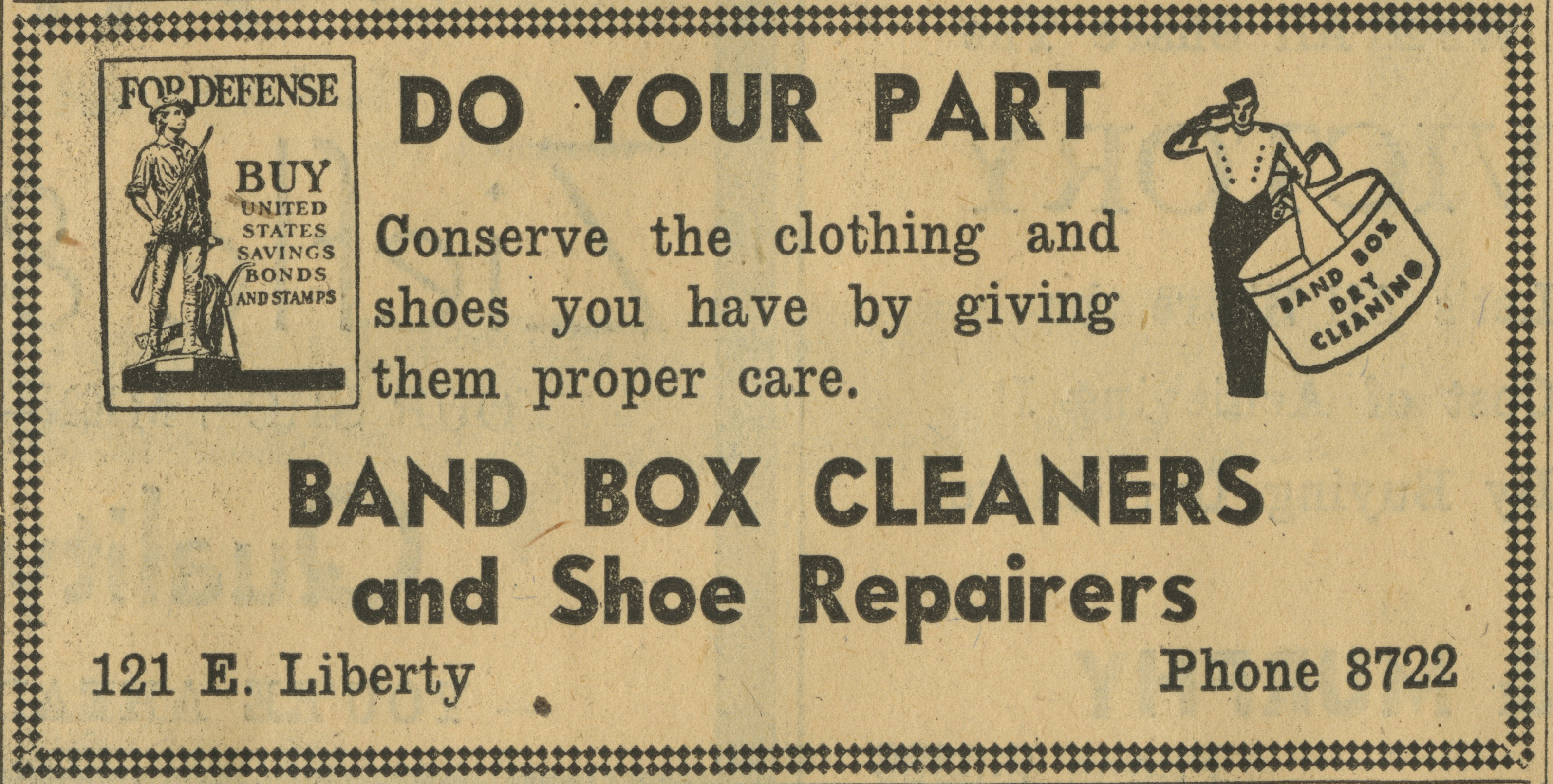 Band Box Cleaners and Shoe Repairers [advertisement] image