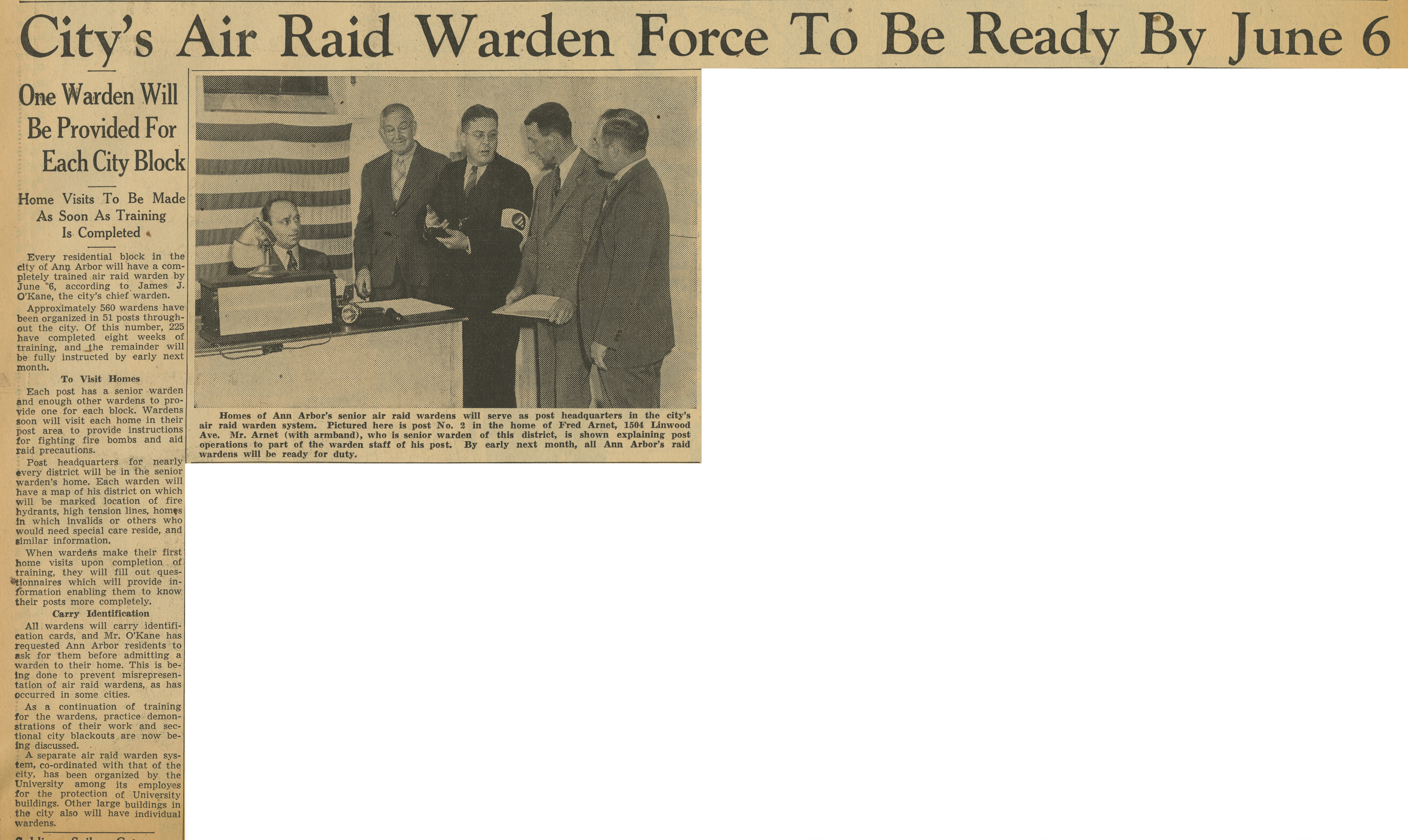 City's Air Raid Warden Force To Be Ready By June 6 image