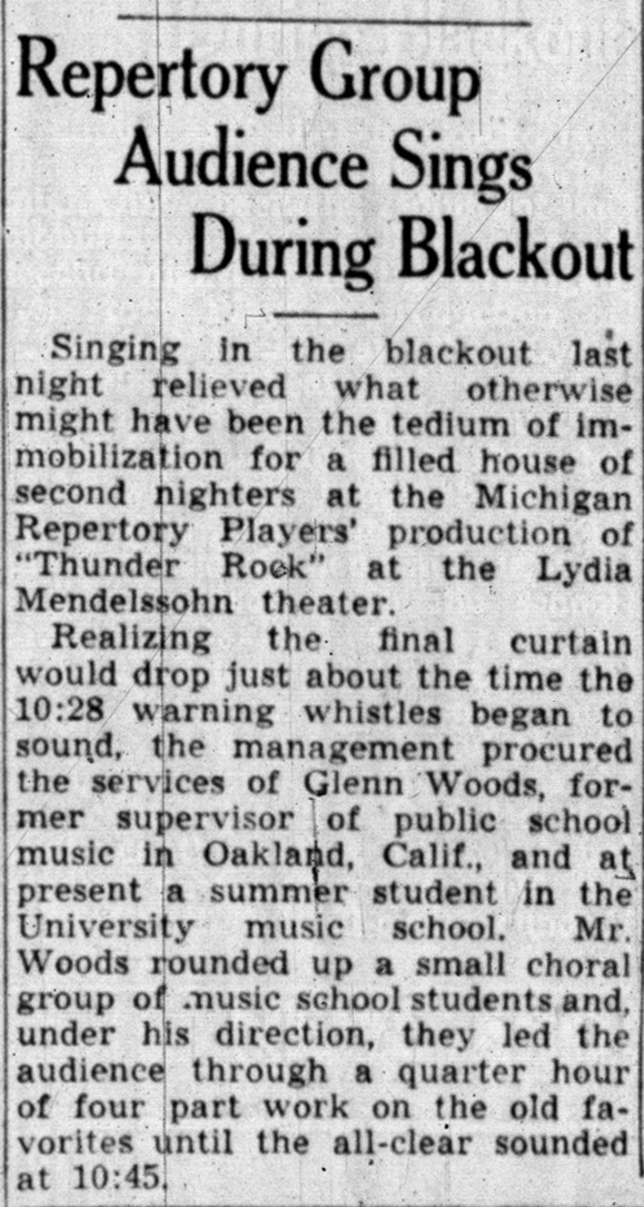 Repertory Group Audience Sings During Blackout image