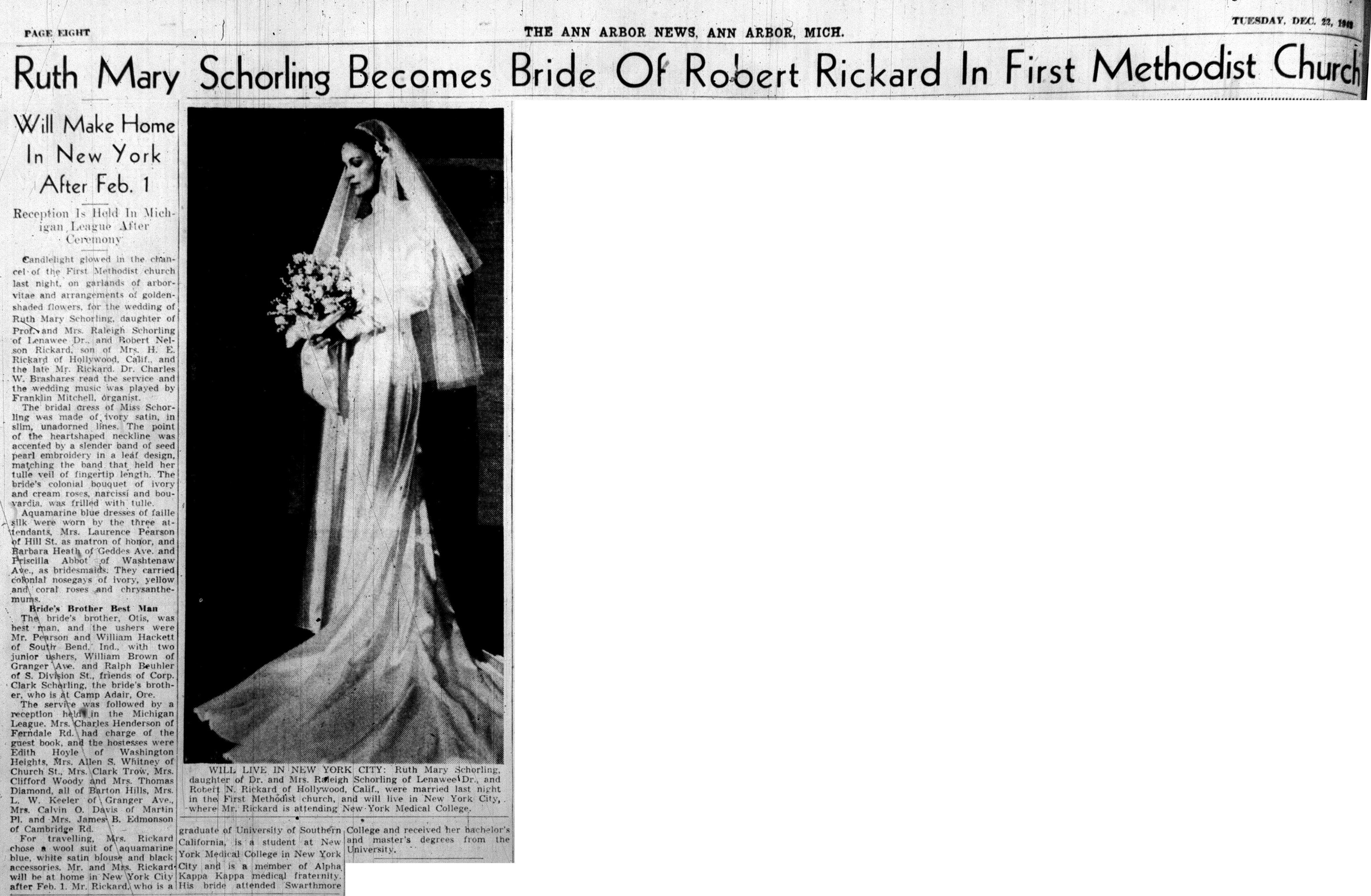 Ruth Mary Schorling Becomes Bride Of Robert Rickard In First Methodist Church image