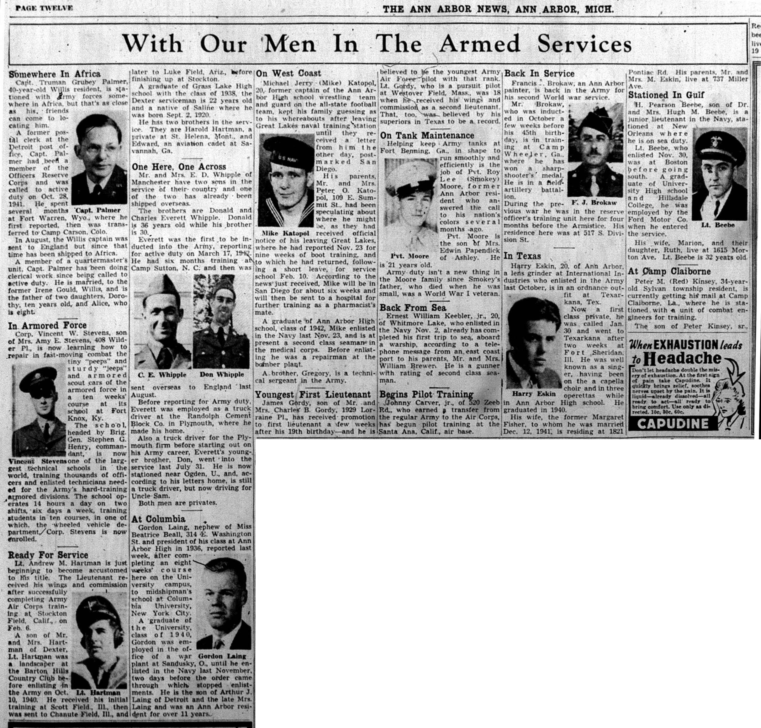 With Our Men In The Armed Services: March 1943 image