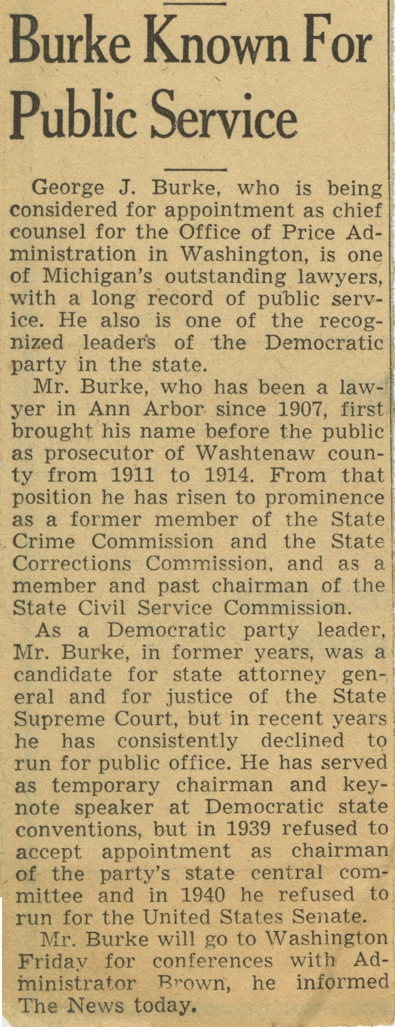 Burke Known For Public Service image