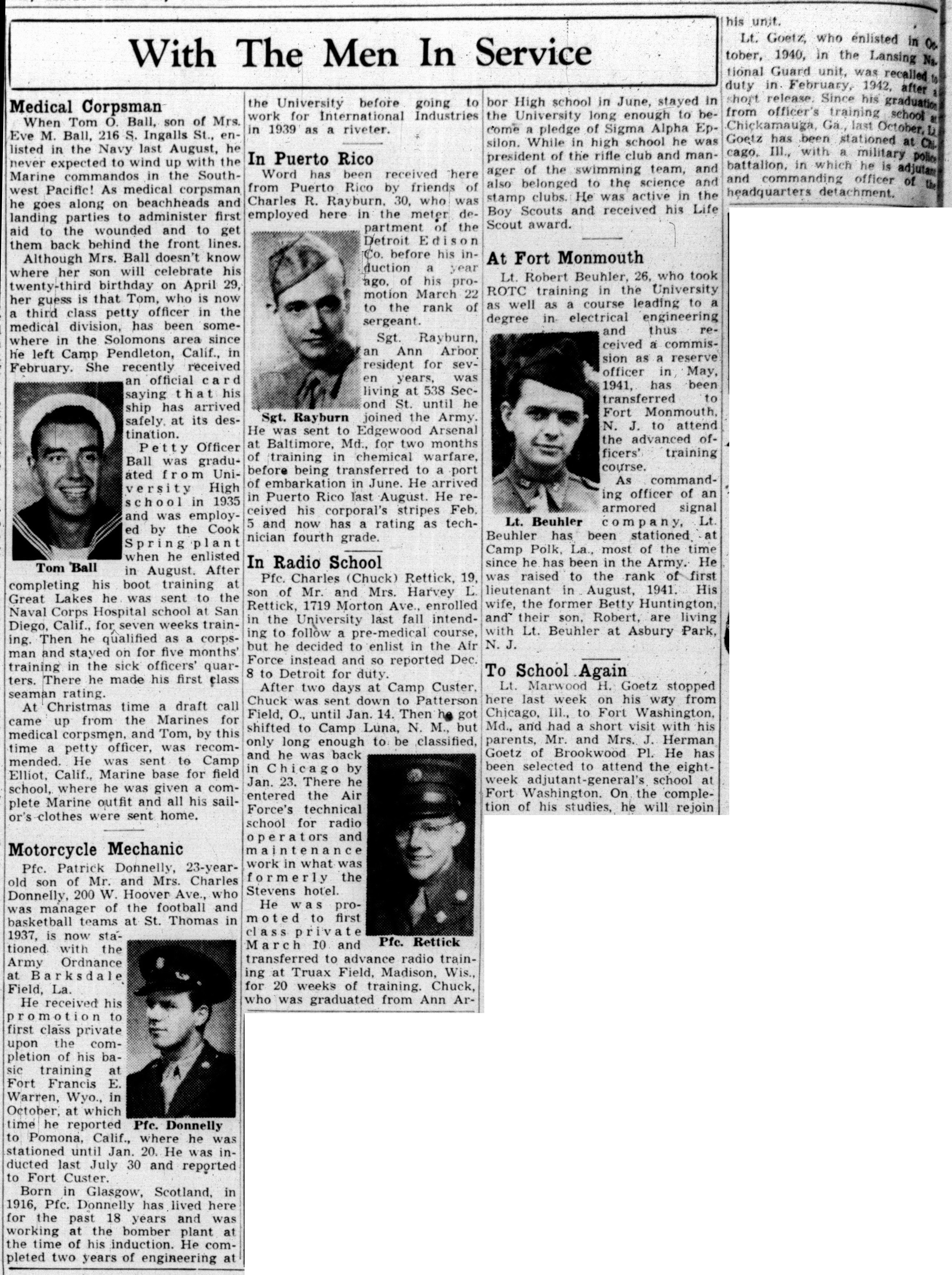 With The Men In Service: April 14, 1943 image