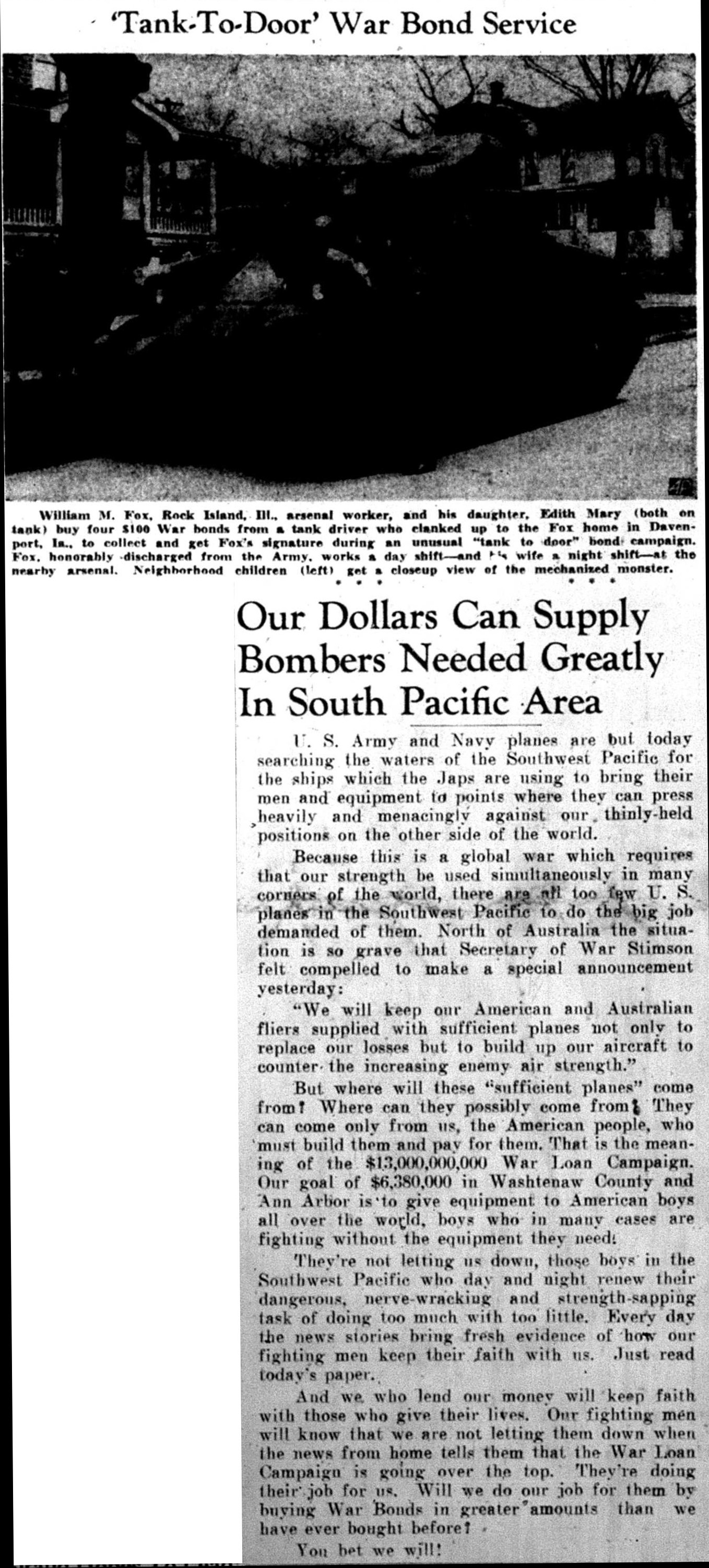 Our Dollars Can Supply Bombers Needed Greatly In South Pacific Area image