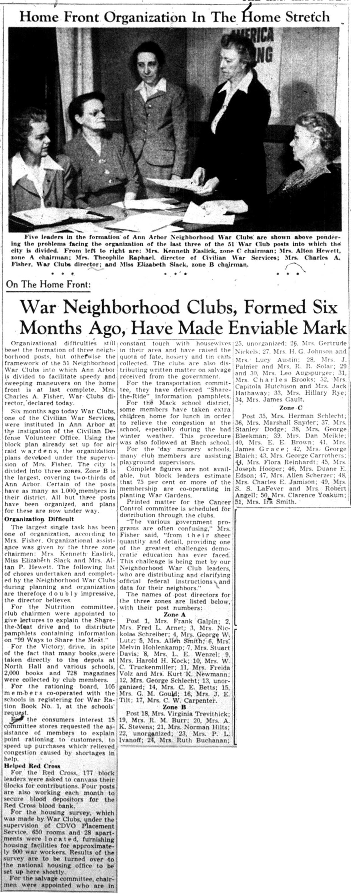 War Neighborhood Clubs, Formed Six Months Ago, Have Made Enviable Mark image