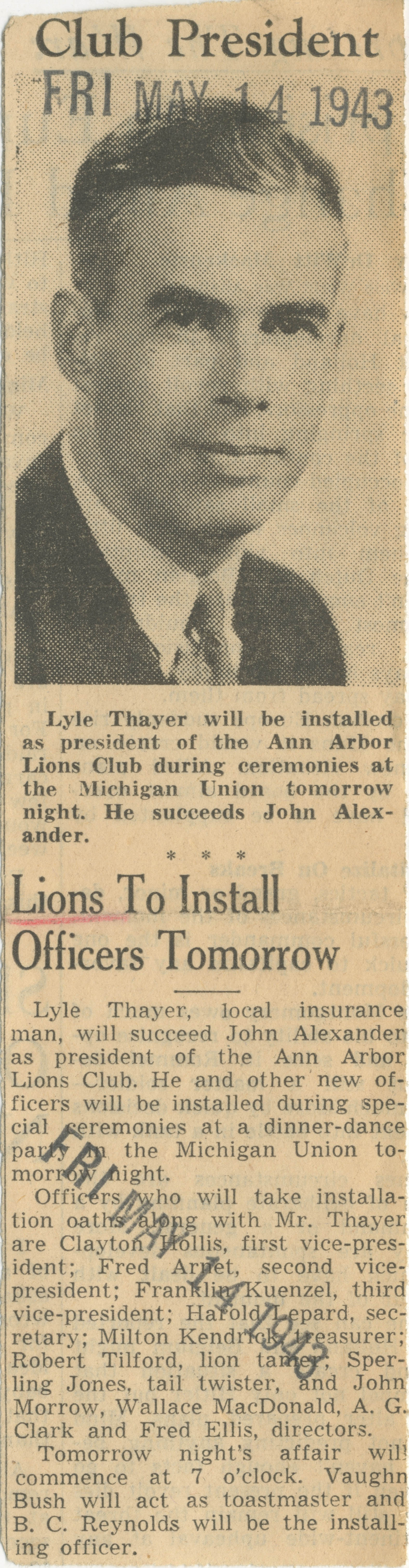 Lions To Install Officers Tomorrow image