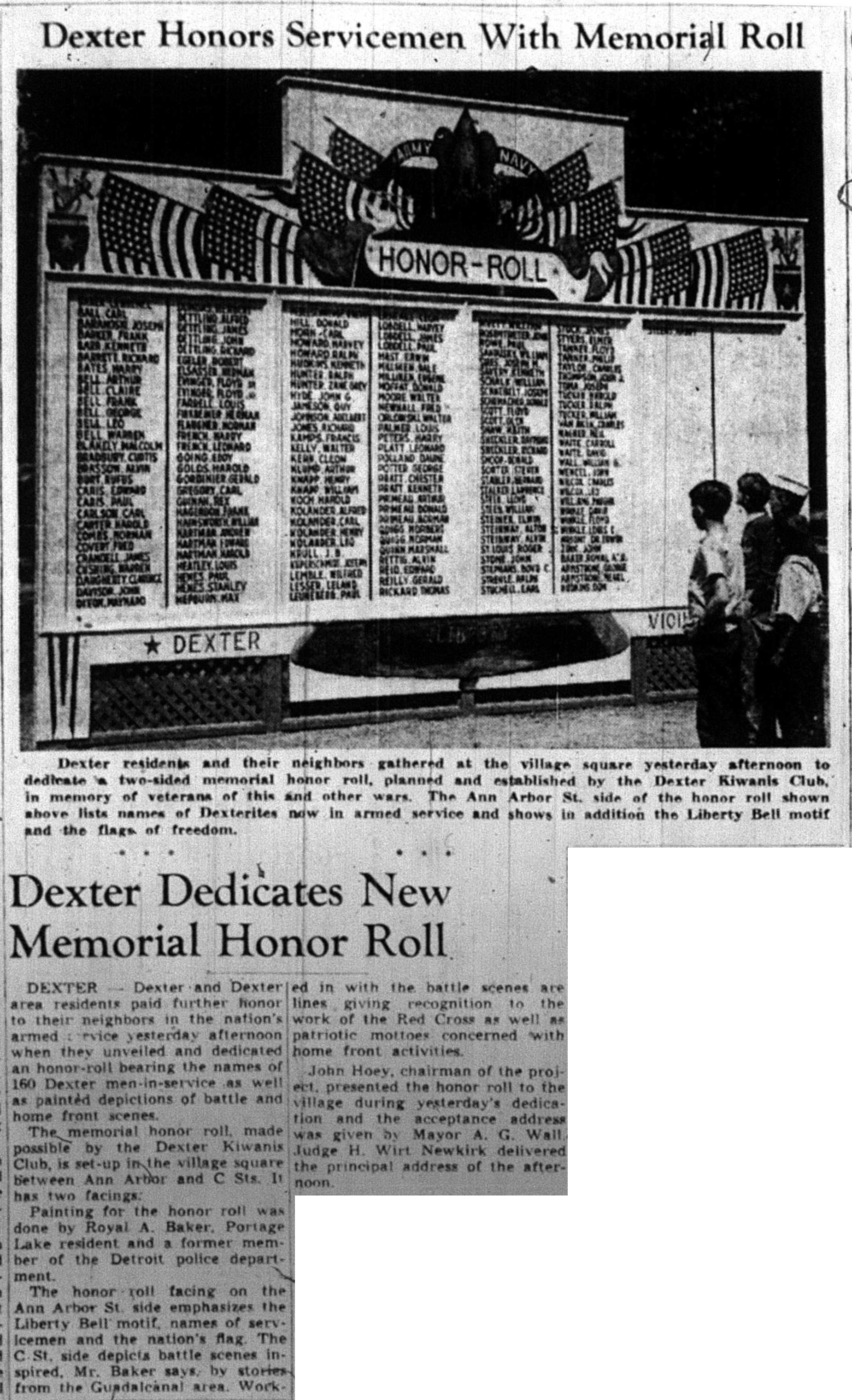 Dexter Honors Servicemen With Memorial Roll image