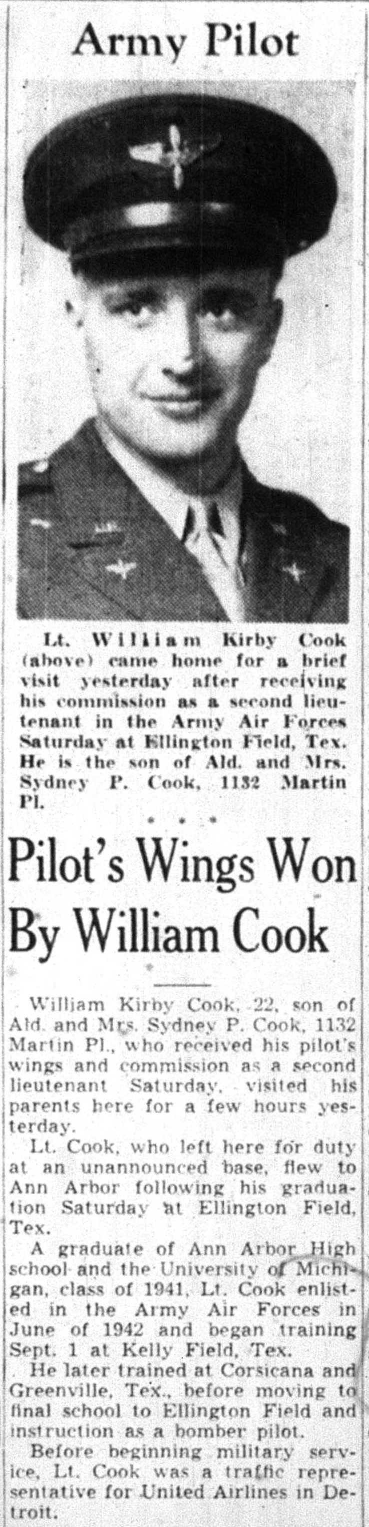 Pilot's Wings Won By William Cook image