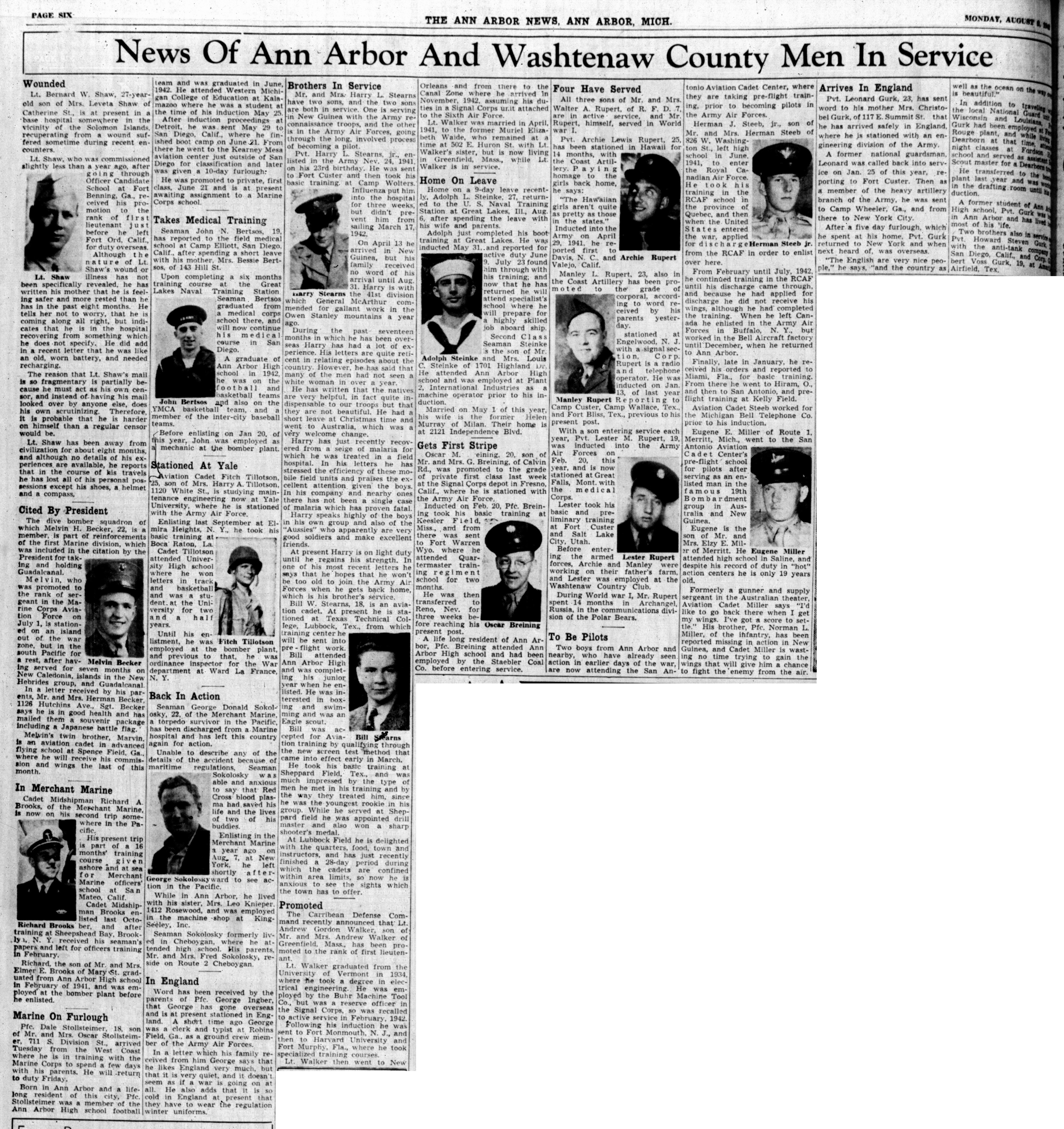 News Of Ann Arbor And Washtenaw County Men In Service: August 9, 1943 image