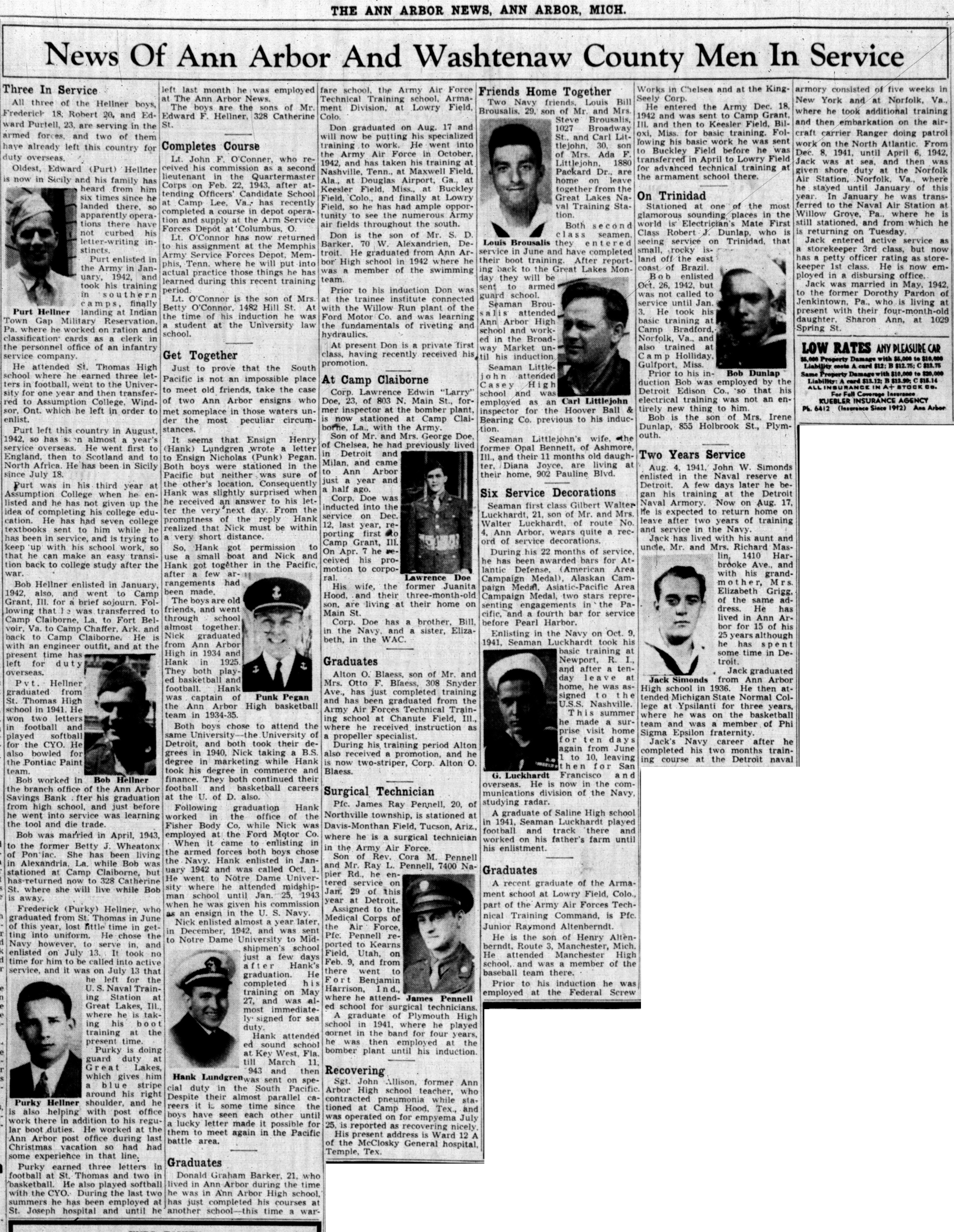 News Of Ann Arbor And Washtenaw County Men In Service: August 17, 1943 image