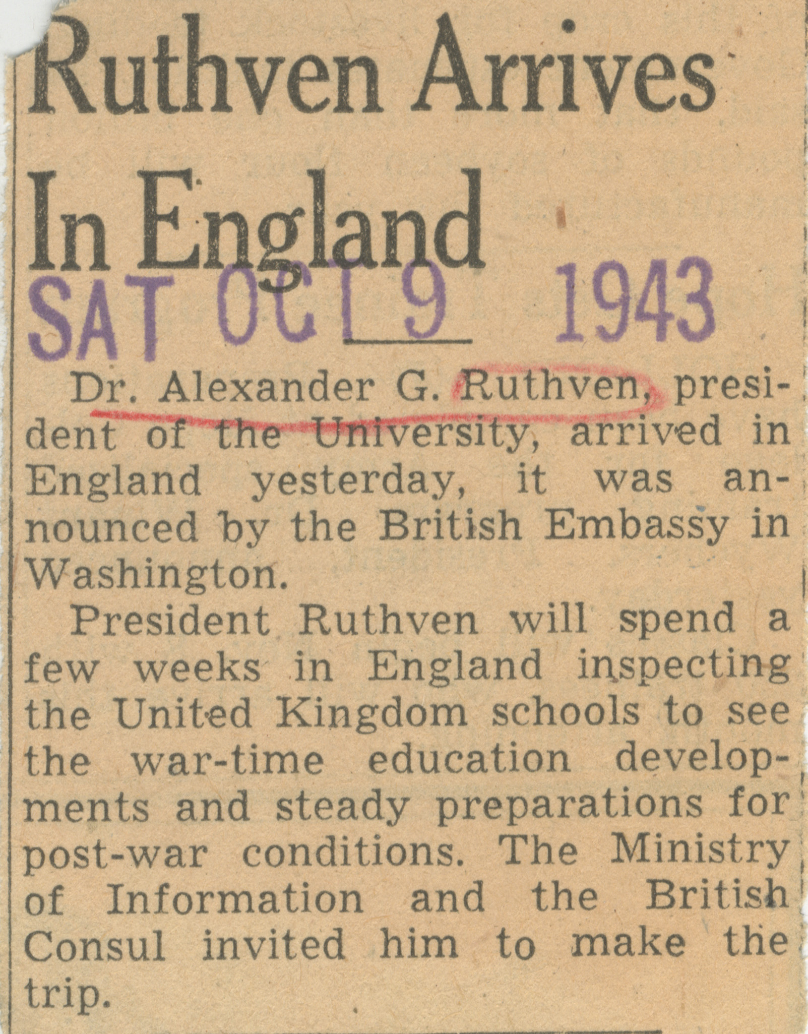 Ruthven Arrives In England image