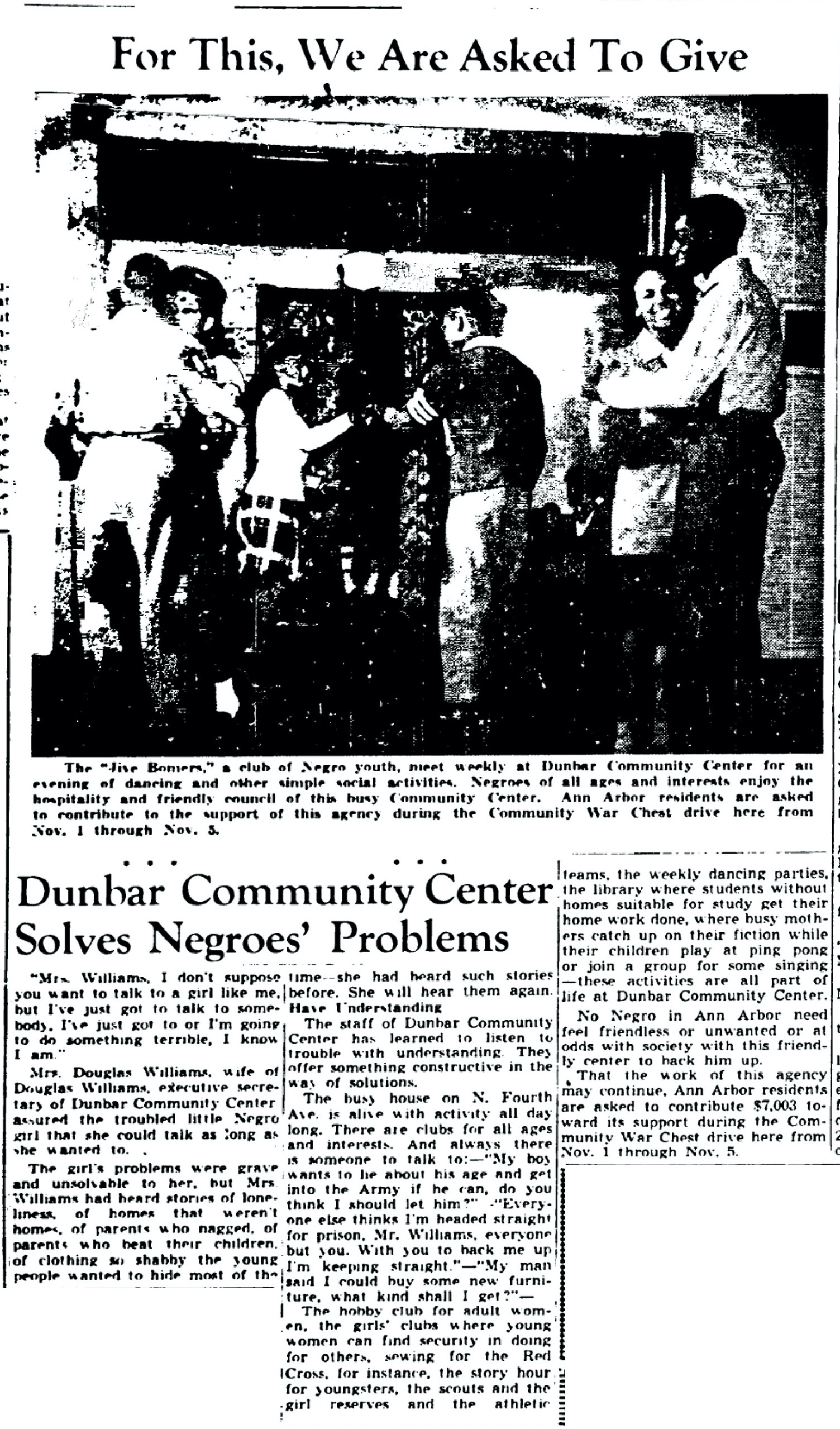 Dunbar Community Center Solves Negroes' Problems image