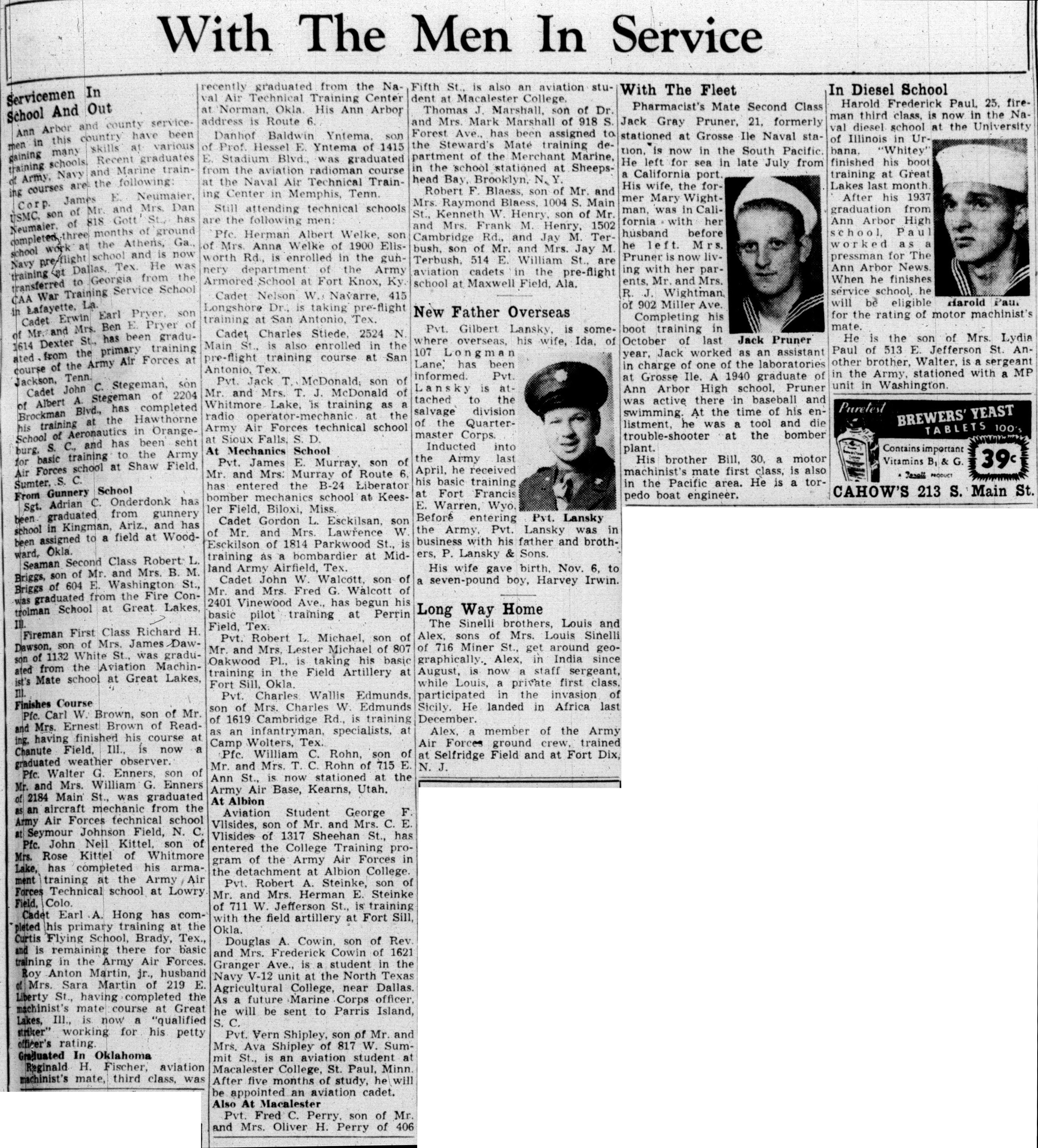 With The Men In Service: November 17, 1943 image