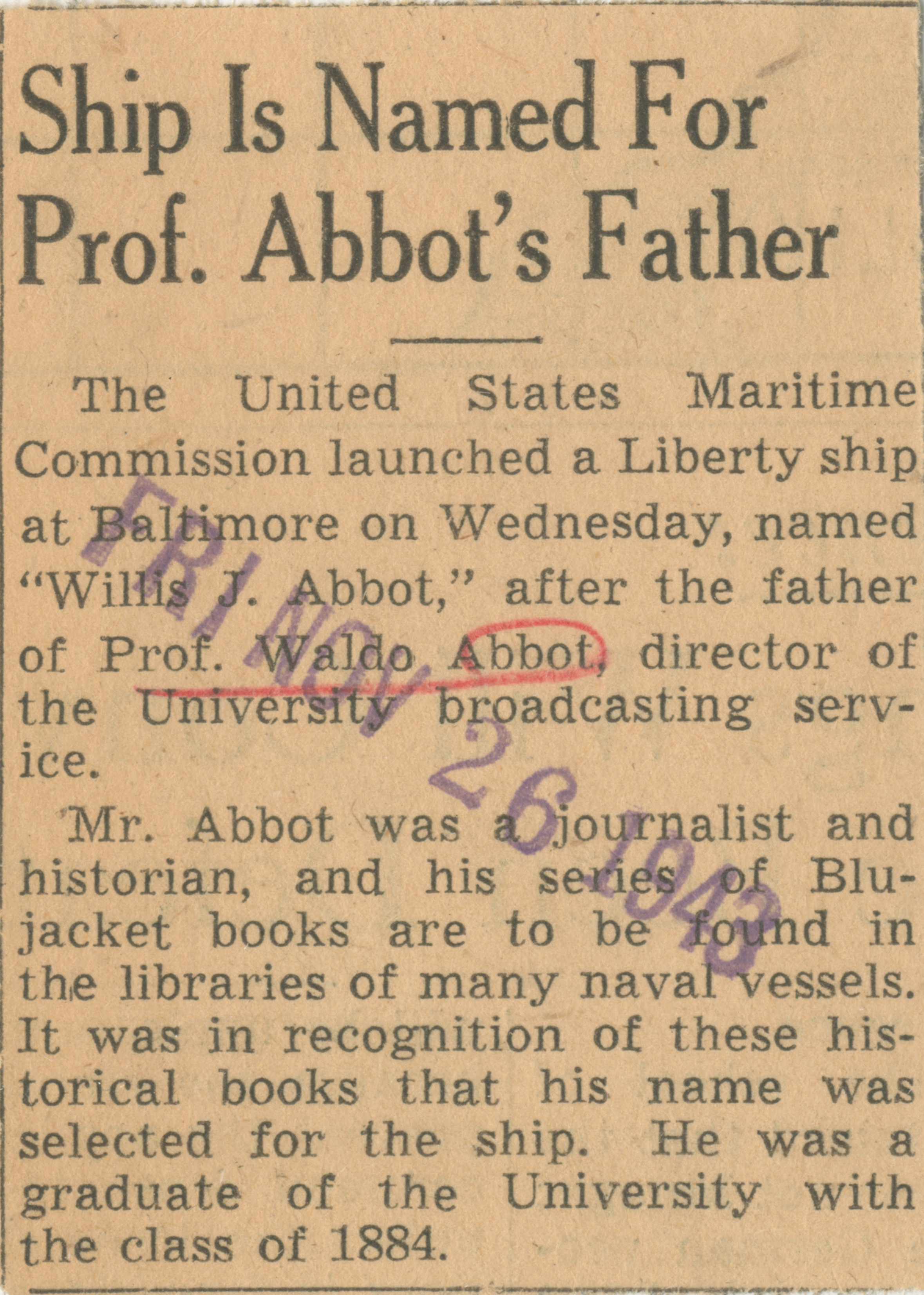 Ship Is Named For Prof. Abbot's Father image