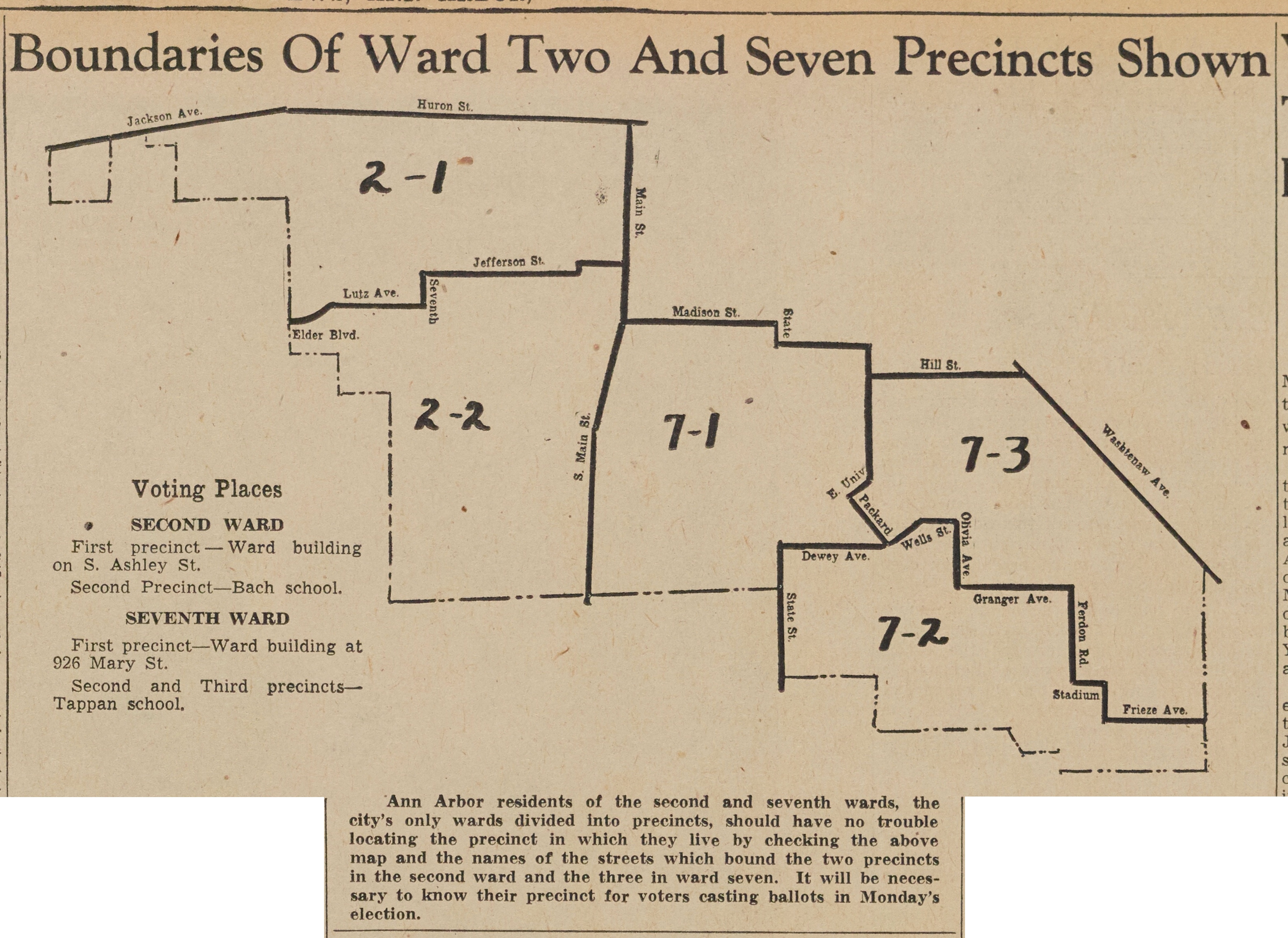 Boundaries Of Ward Two and Seven Precincts Shown image