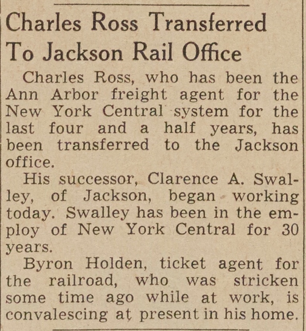 Charles Ross Transferred To Jackson Rail Office image