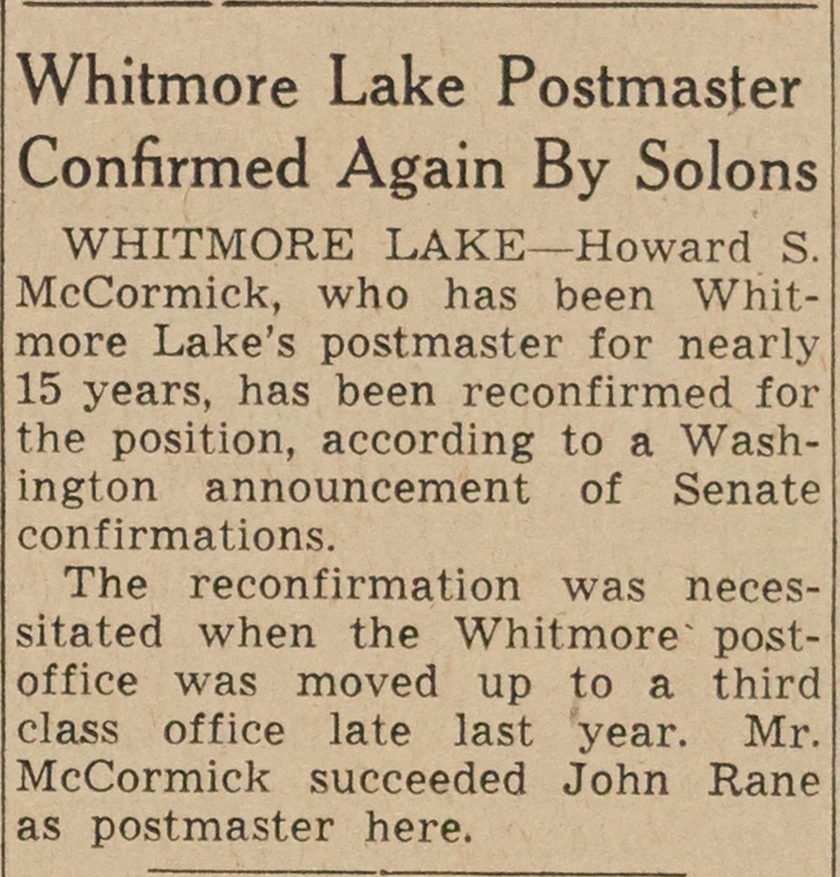 Whitmore Lake Postmaster Confirmed Again By Solons image