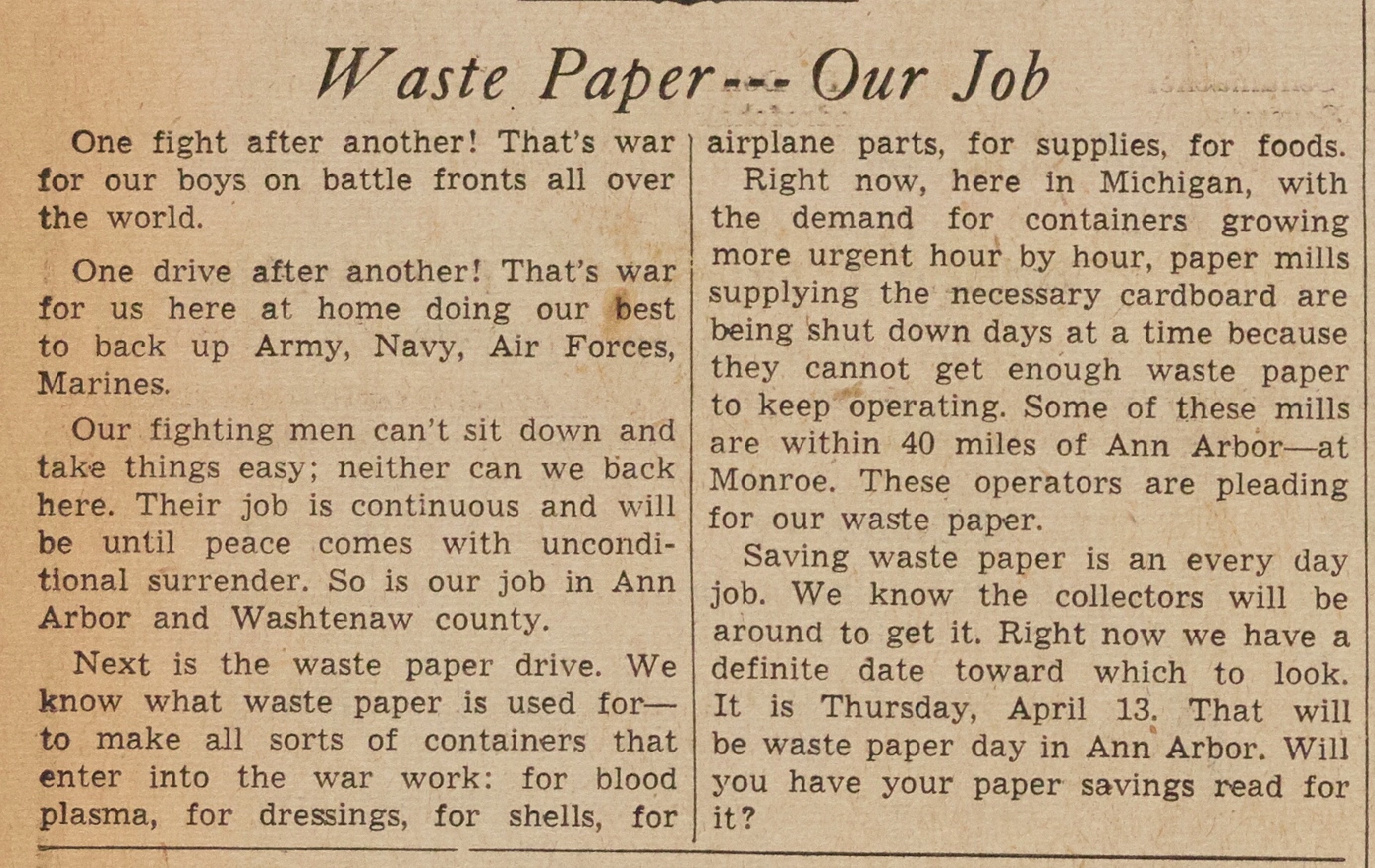 Waste Paper - Our Job image